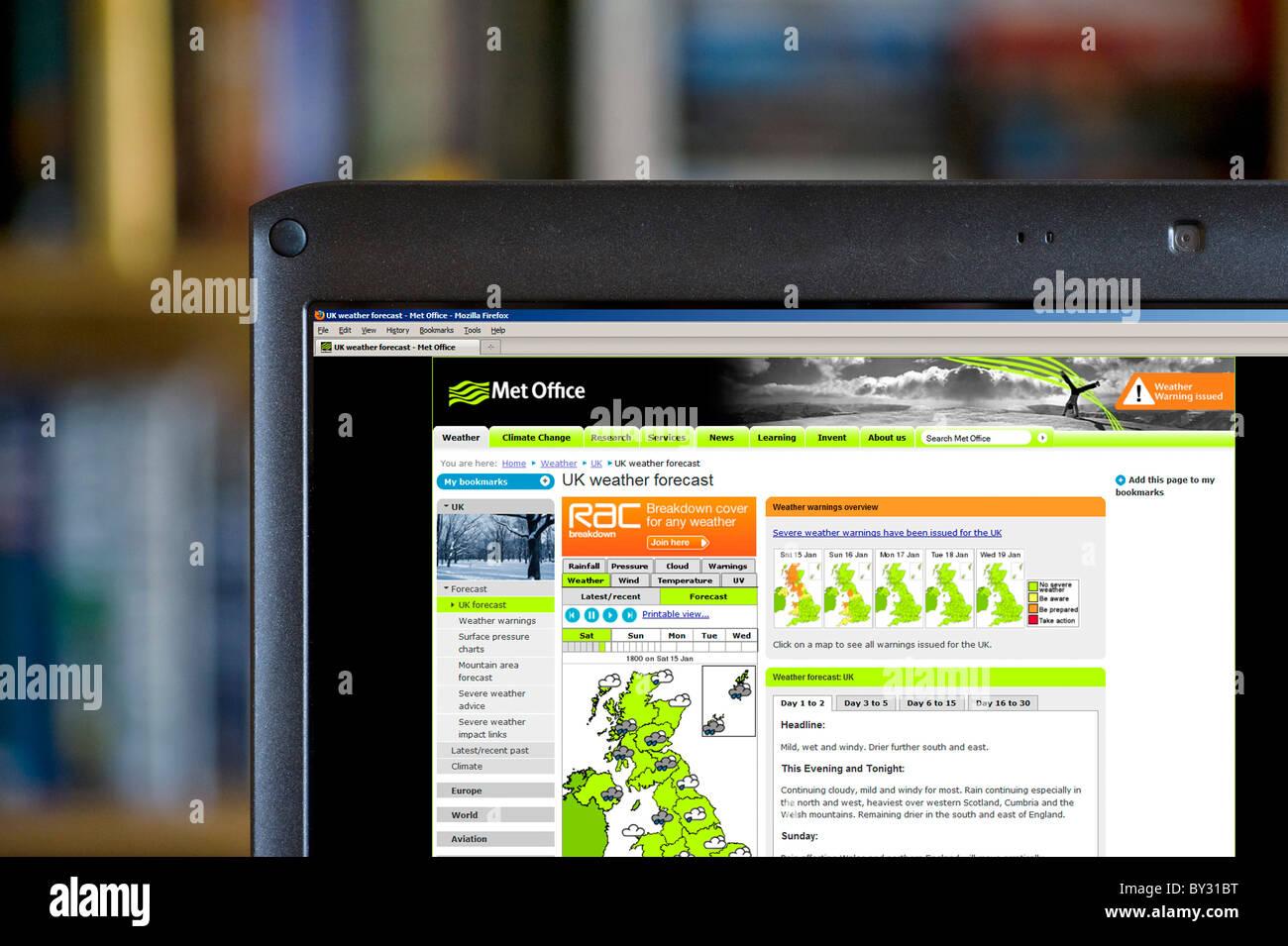 Durchsuchen die UK-Wettervorhersage auf der Website der Met Office UK Stockbild
