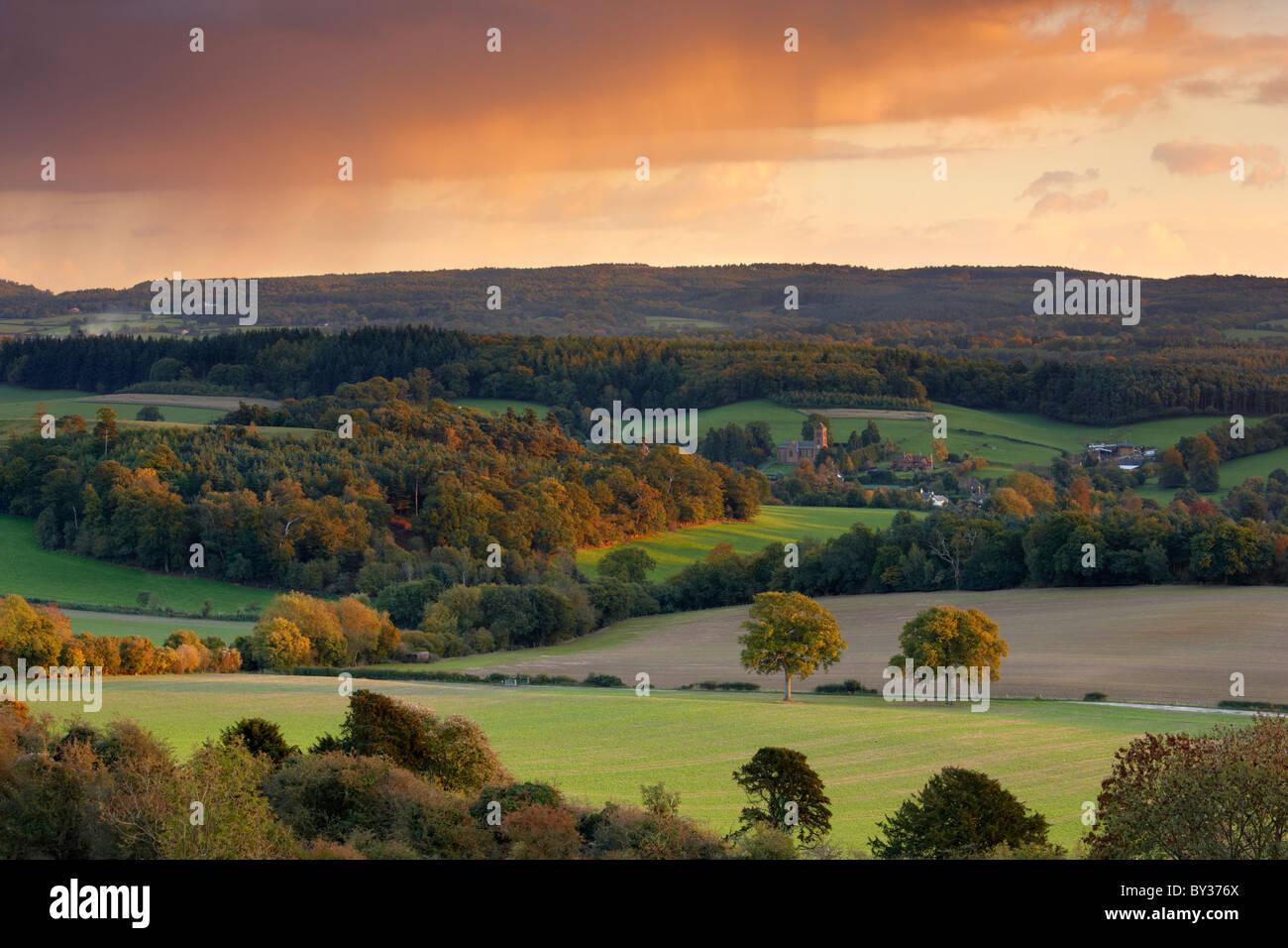 Blick in Richtung Albury und die Surrey Hügel-Landschaft Stockbild
