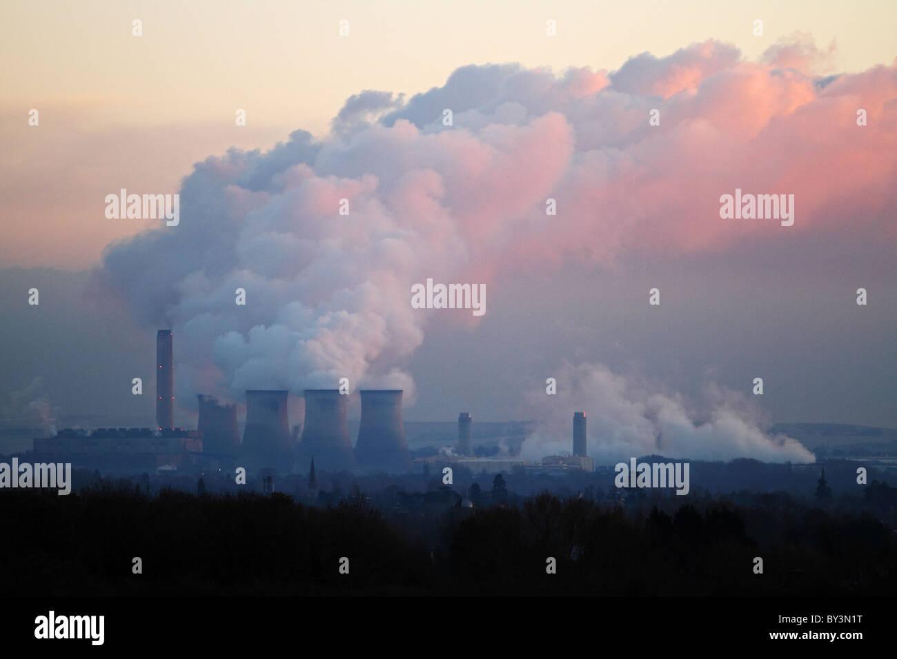 Didcot Kraftwerk Verschmutzung Kohlenstoffemissionen Oxfordshire Stockbild