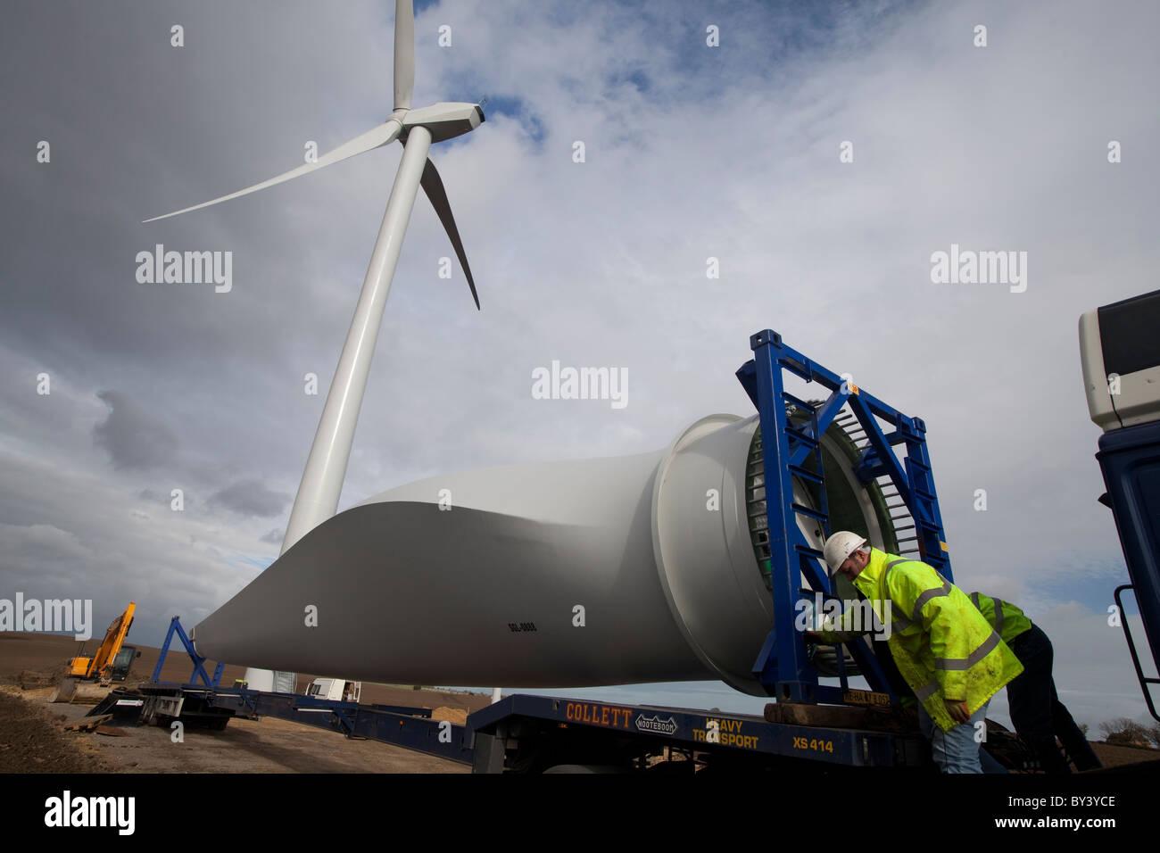 Bau eines Windparks Turbine bei Butterwick Moor Durham UK Stockbild