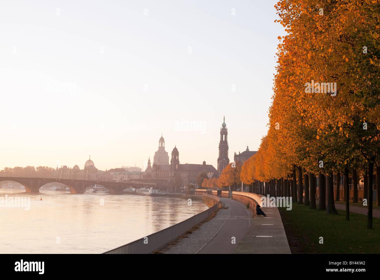 Deutschland, Sachsen, Dresden, Skyline-Blick in der Morgendämmerung Stockbild