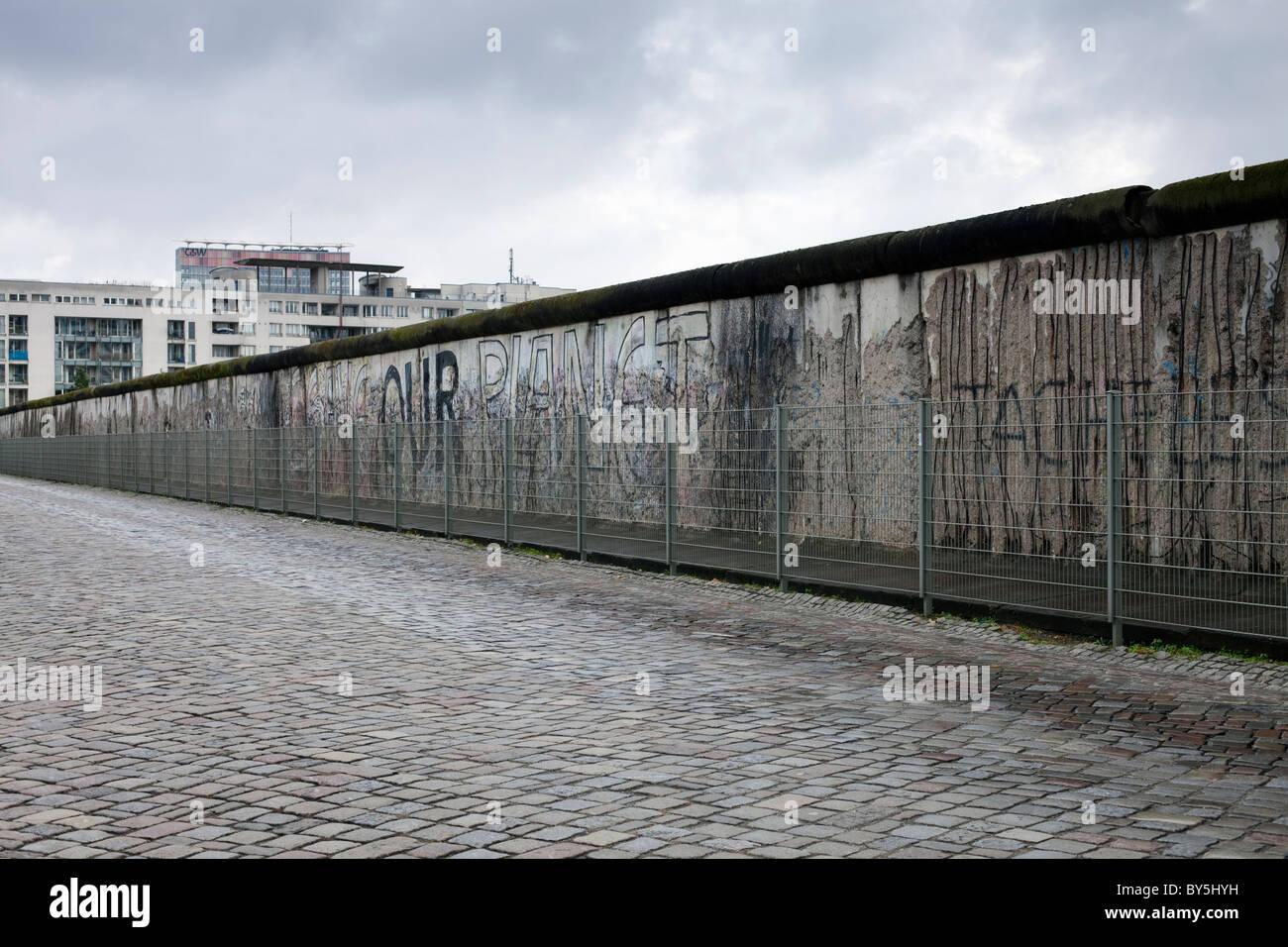 Deutschland, Berlin, Topographie des Terrors, Überbleibsel der Berliner Mauer Stockbild