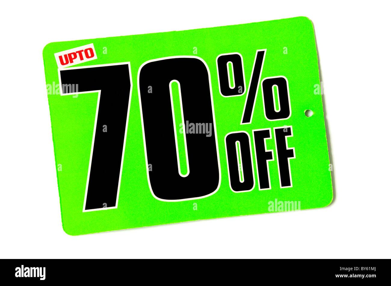 Bis zu 70 % Rabatt auf Sale-Tag Stockbild