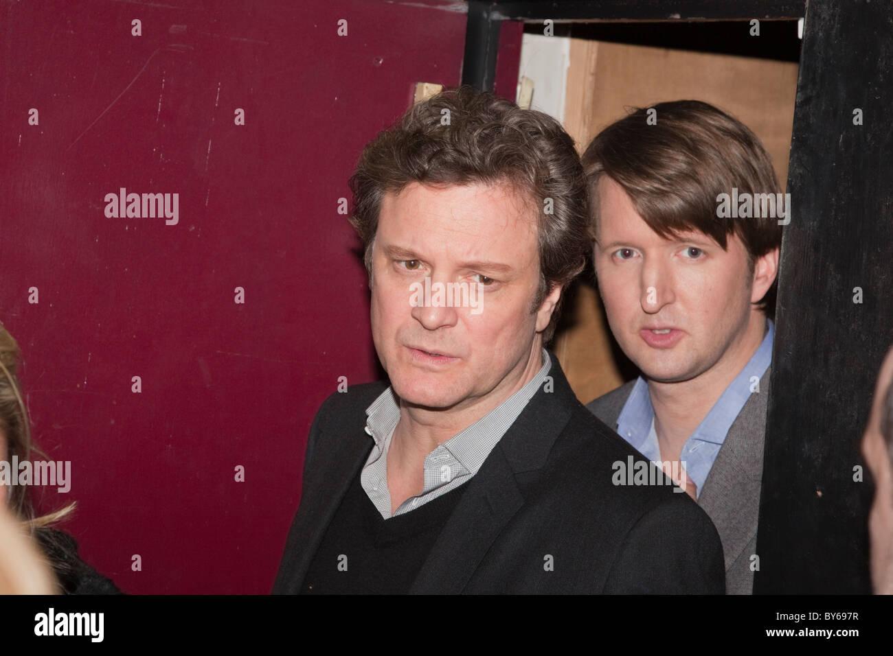 Schauspieler Colin Firth und Regisseur Tom Hooper an Q&A-Session an der Clapham Picturehouse Kino Stockbild