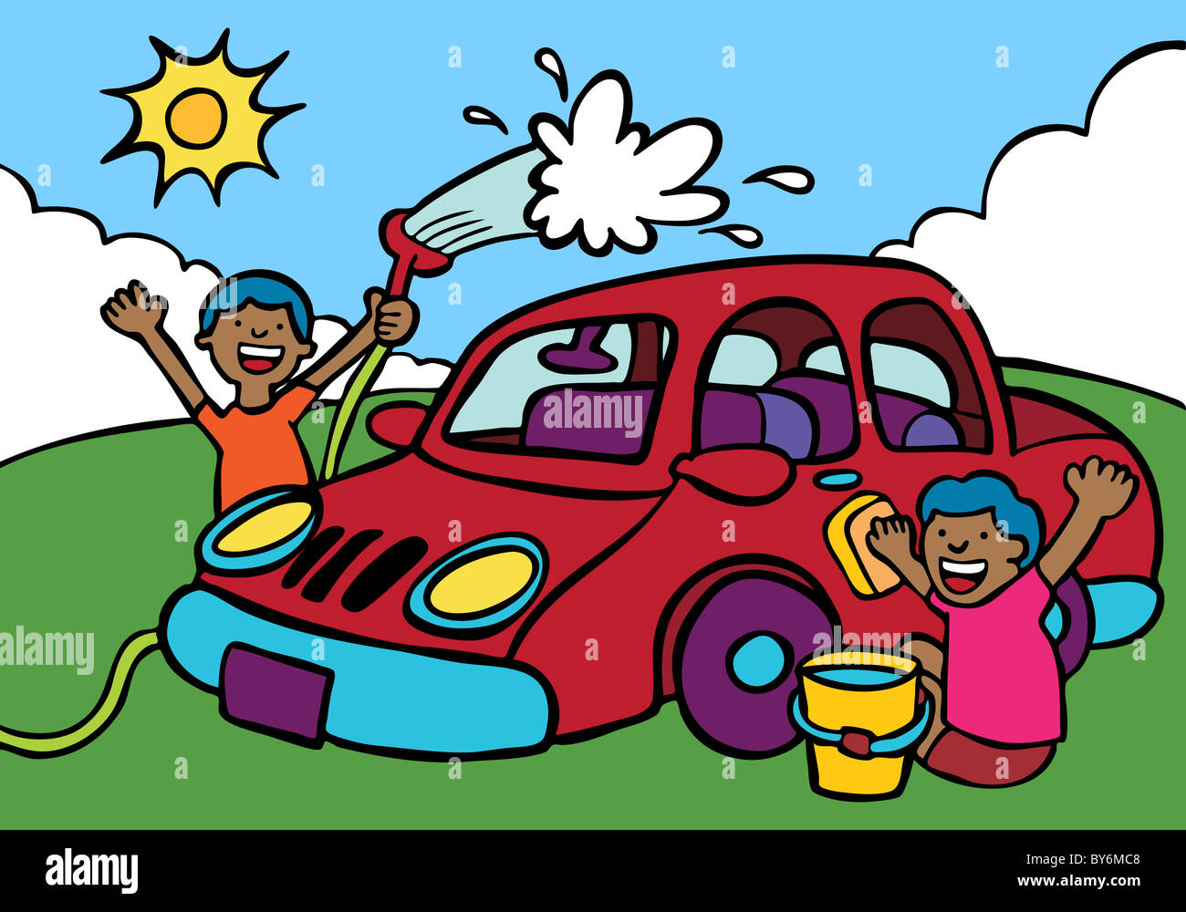 illustration children cleaning car stockfotos. Black Bedroom Furniture Sets. Home Design Ideas