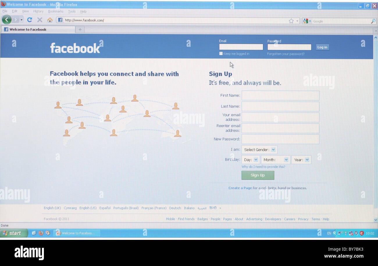 Volle Screenshot der Startseite von Facebook.com-social-networking-website Stockbild