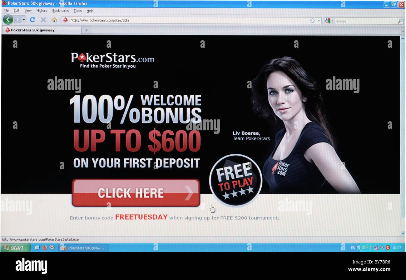 Vollbild-Schuss von Pokerstars.com Homepage online-Sportwetten Webseite Stockbild
