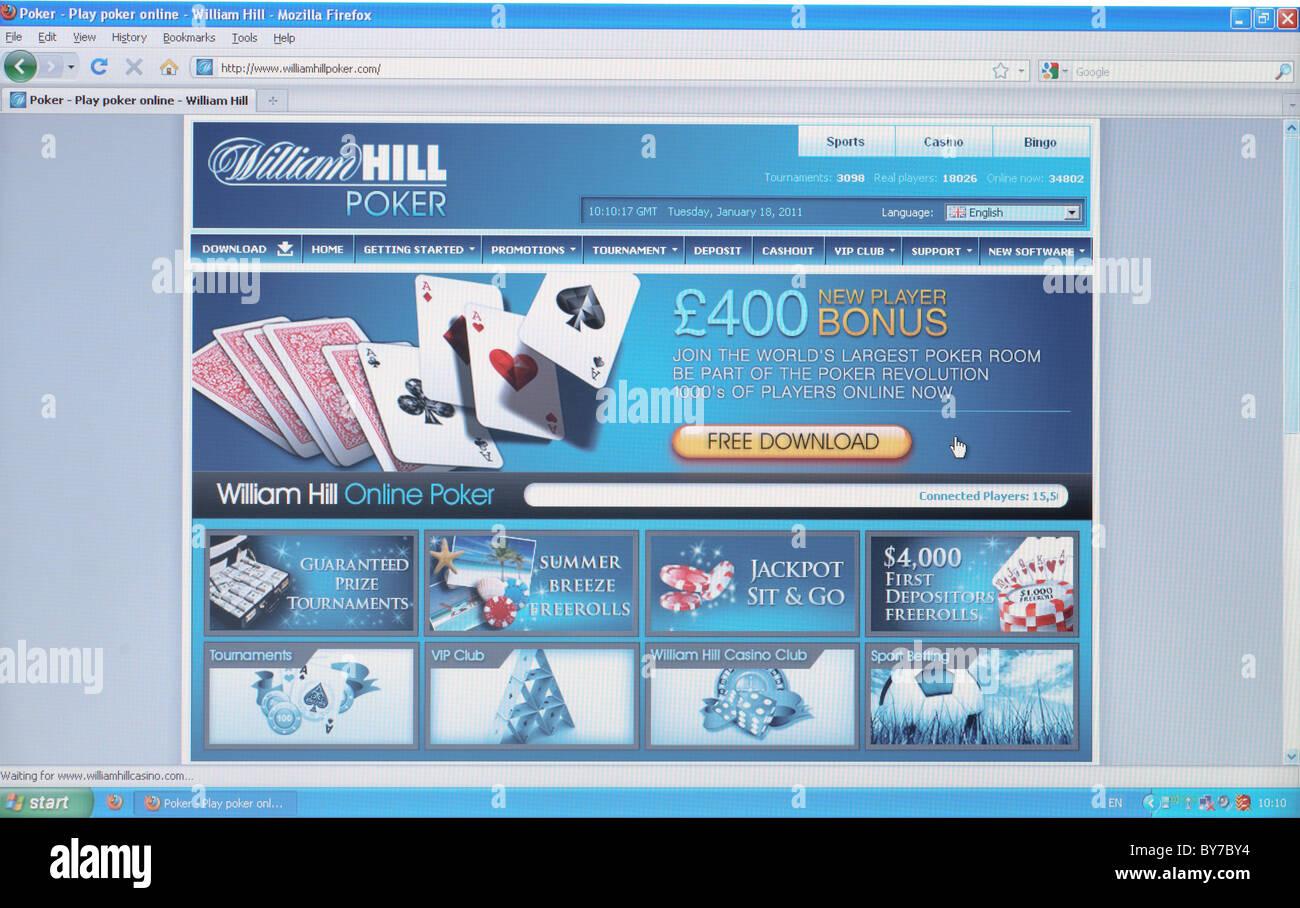"Vollbild-Schuss ""William Hill"" Homepage online-Poker Wetten Stockbild"