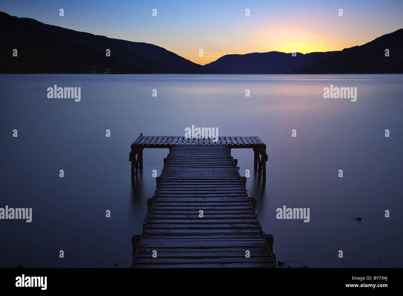 Loch Earn Jetty, St Fillians, Perthshire, Schottland Stockbild