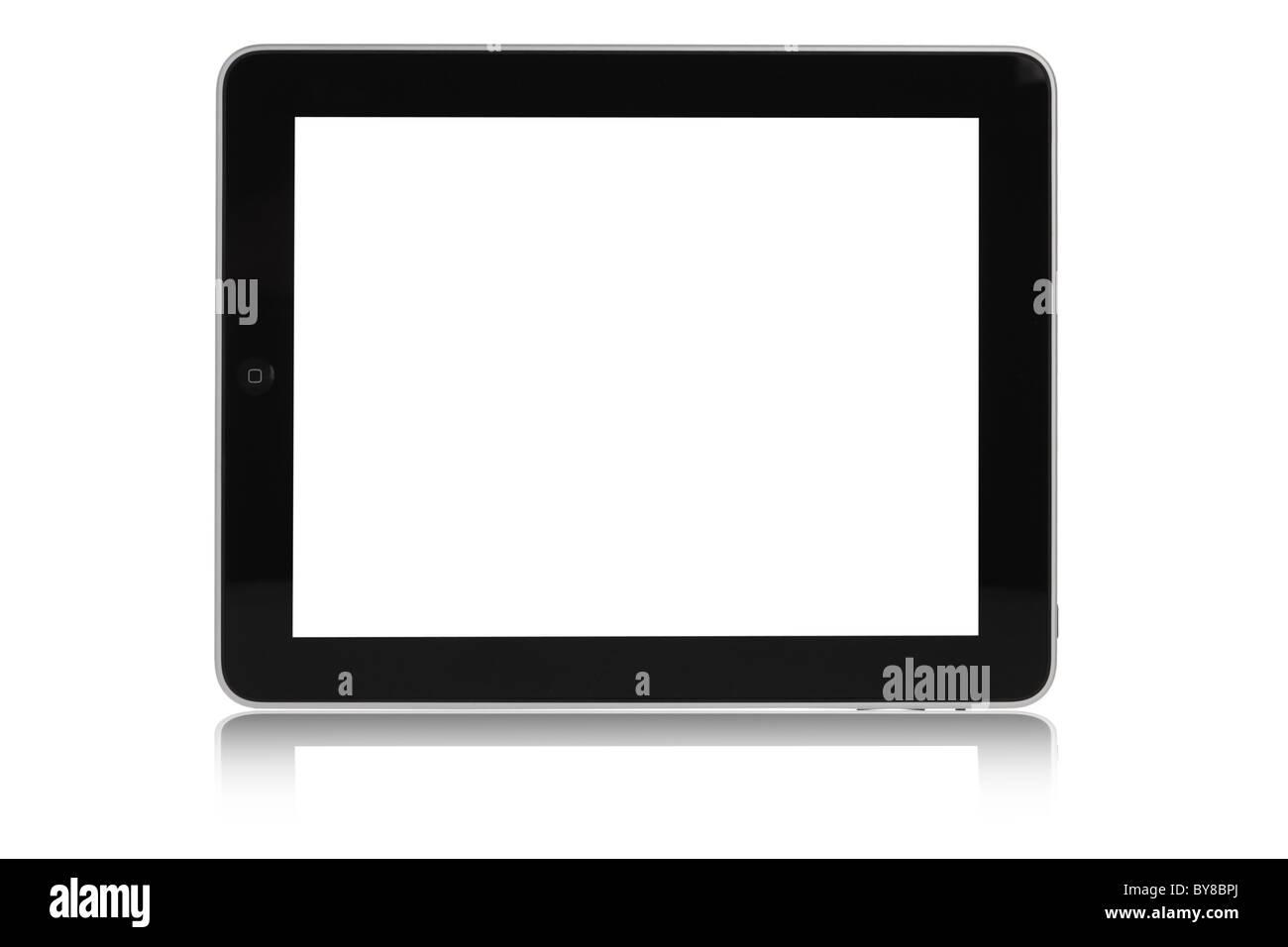 Apple-Ipad-Ausschnitt auf weißem Hintergrund mit schwarzer Bildschirm Stockbild