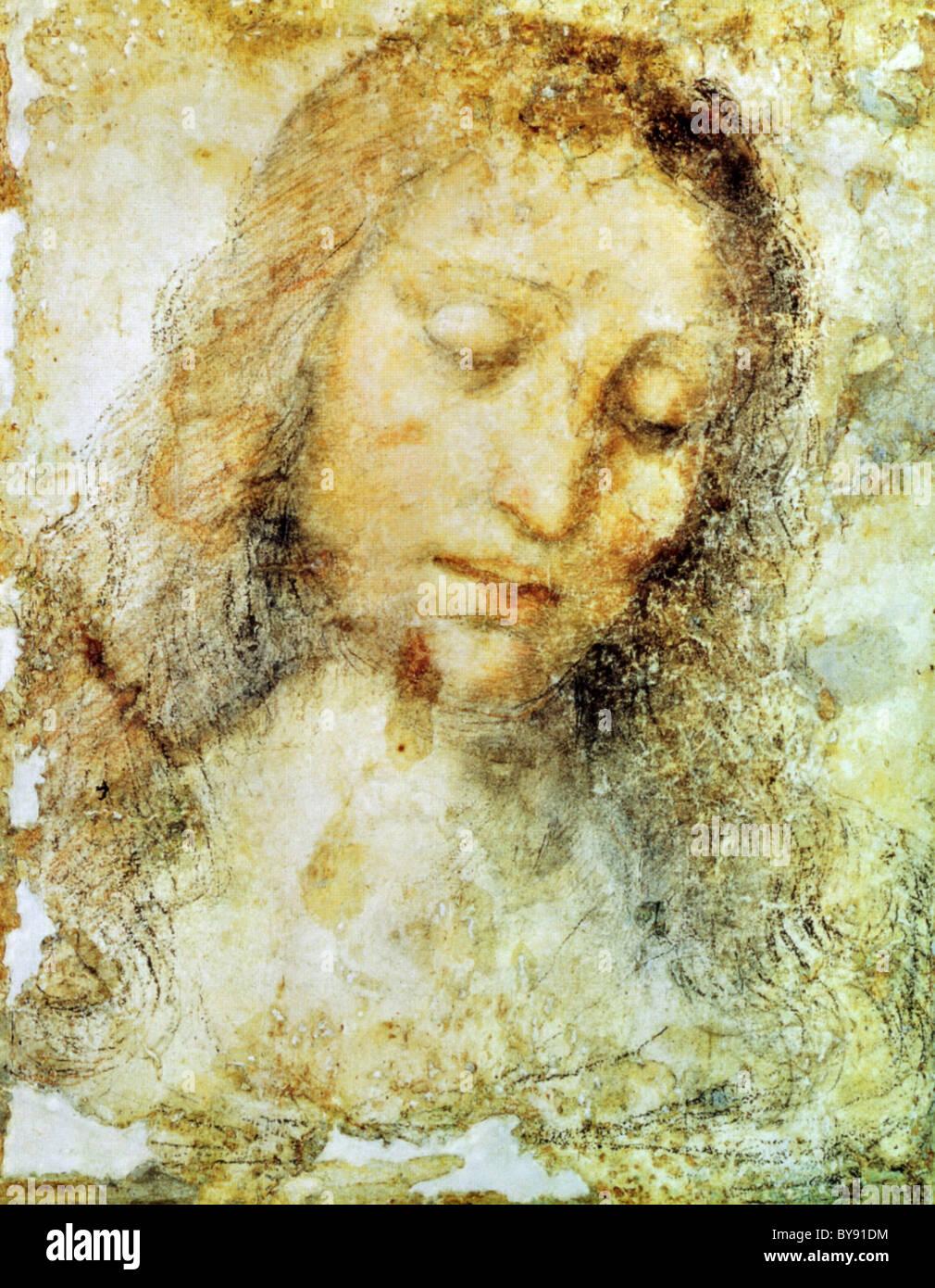 Kopf des Christus von Leonardo da Vinci. Stockbild