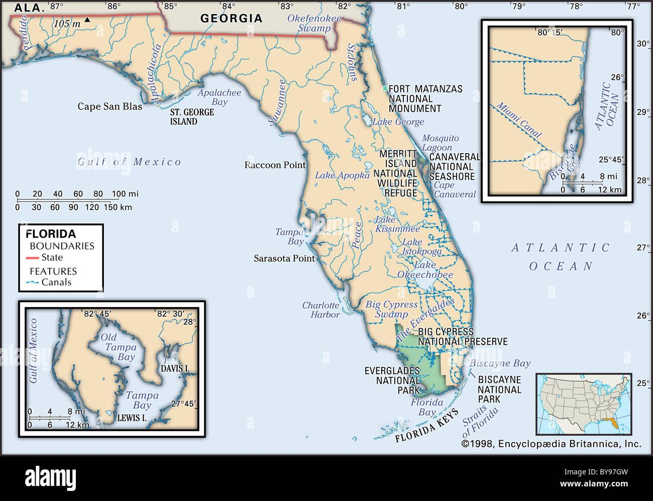 Karte Von Florida Westkuste.Physische Karte Von Florida Stockfoto Bild 34009609 Alamy