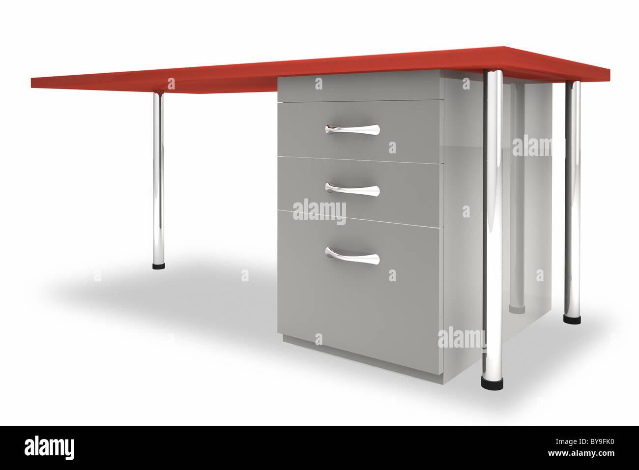 Schreibtisch vor einem weißen Hintergrund Stockbild