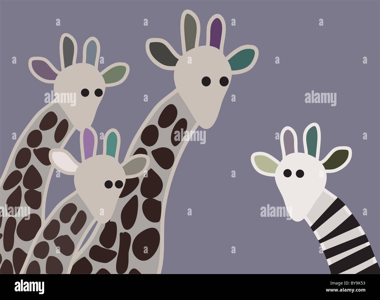 Giraffen-Familie sucht überrascht mit Giraffe in verschiedenen Kennzeichnung Stockfoto