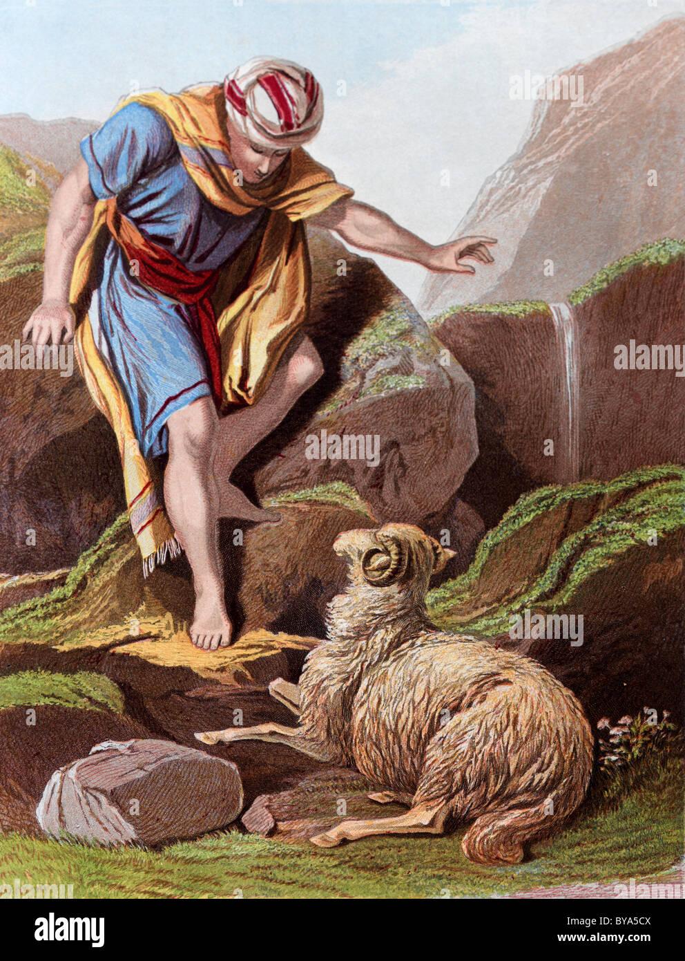 Bibel Geschichten Illustration von The Shepherd Suche nach den verlorenen Schafen Stockbild