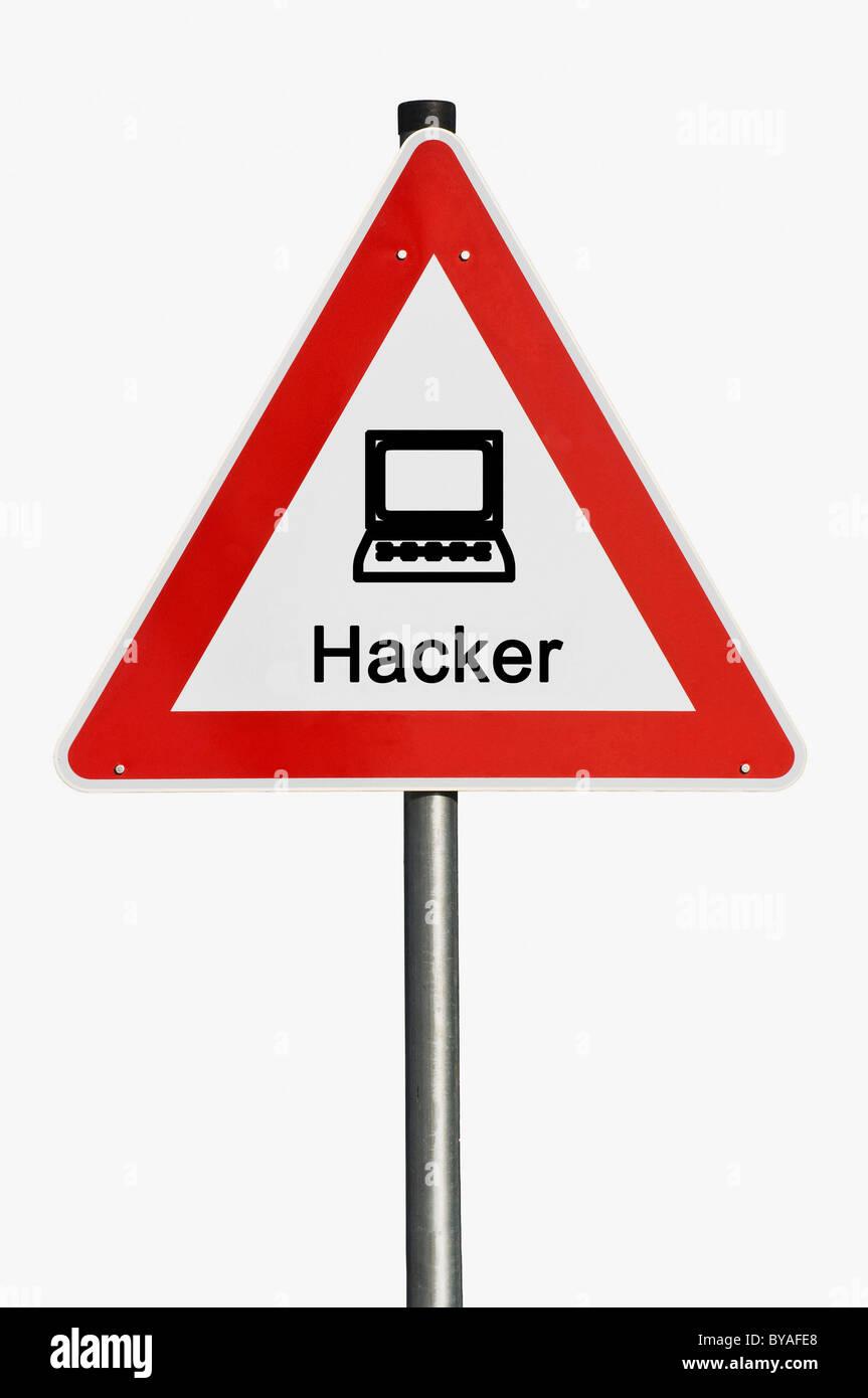 Warnschild mit einem Notebook, Hacker Stockfoto