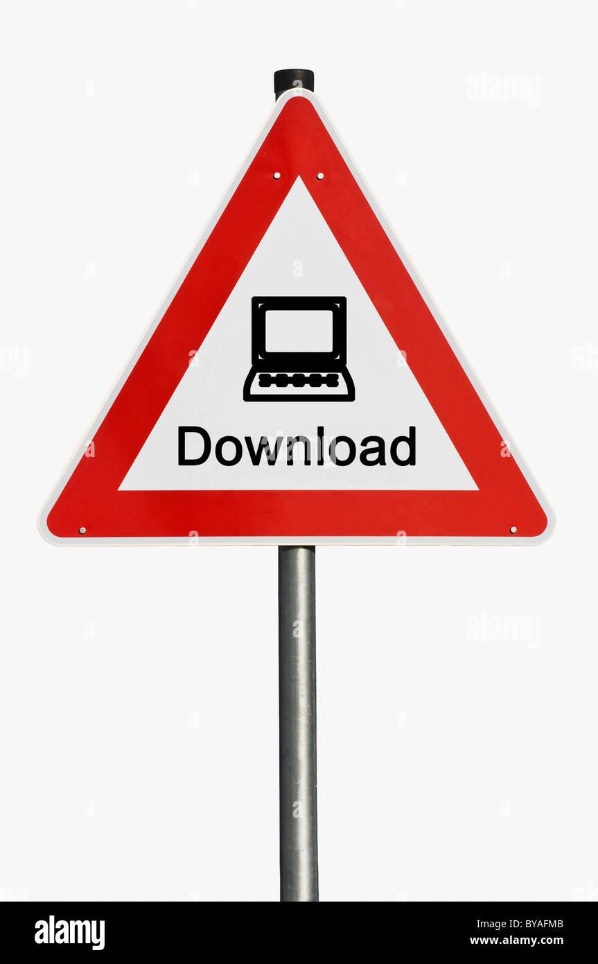 Warnschild mit einem Notebook download Stockfoto
