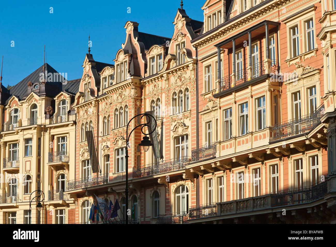 Hotel und Spa-Bereich am Tepla, Lazenska werfen, Carlsbad, Karlovy Vary, Böhmen, Tschechische Republik, Europa Stockbild