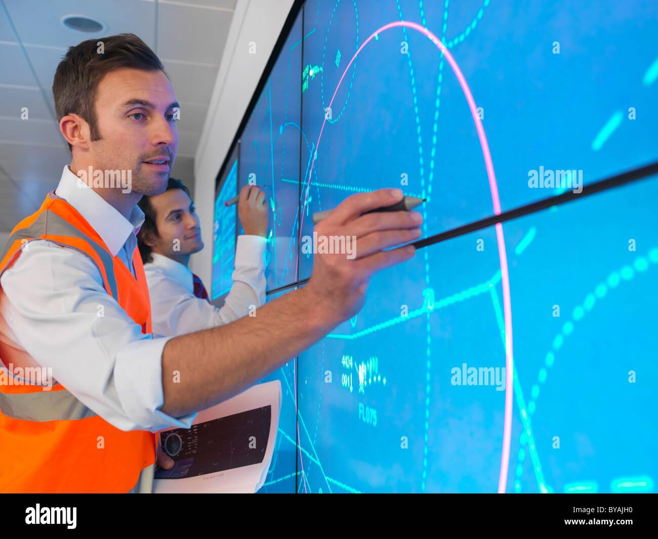 Fluglotsen Simulation Stockbild