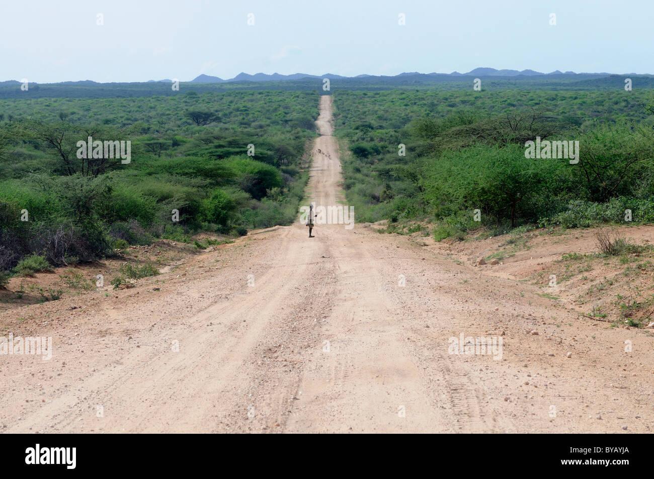 Steiniger Weg durch die südlichen Omo-Tal in Äthiopien, Afrika Stockbild