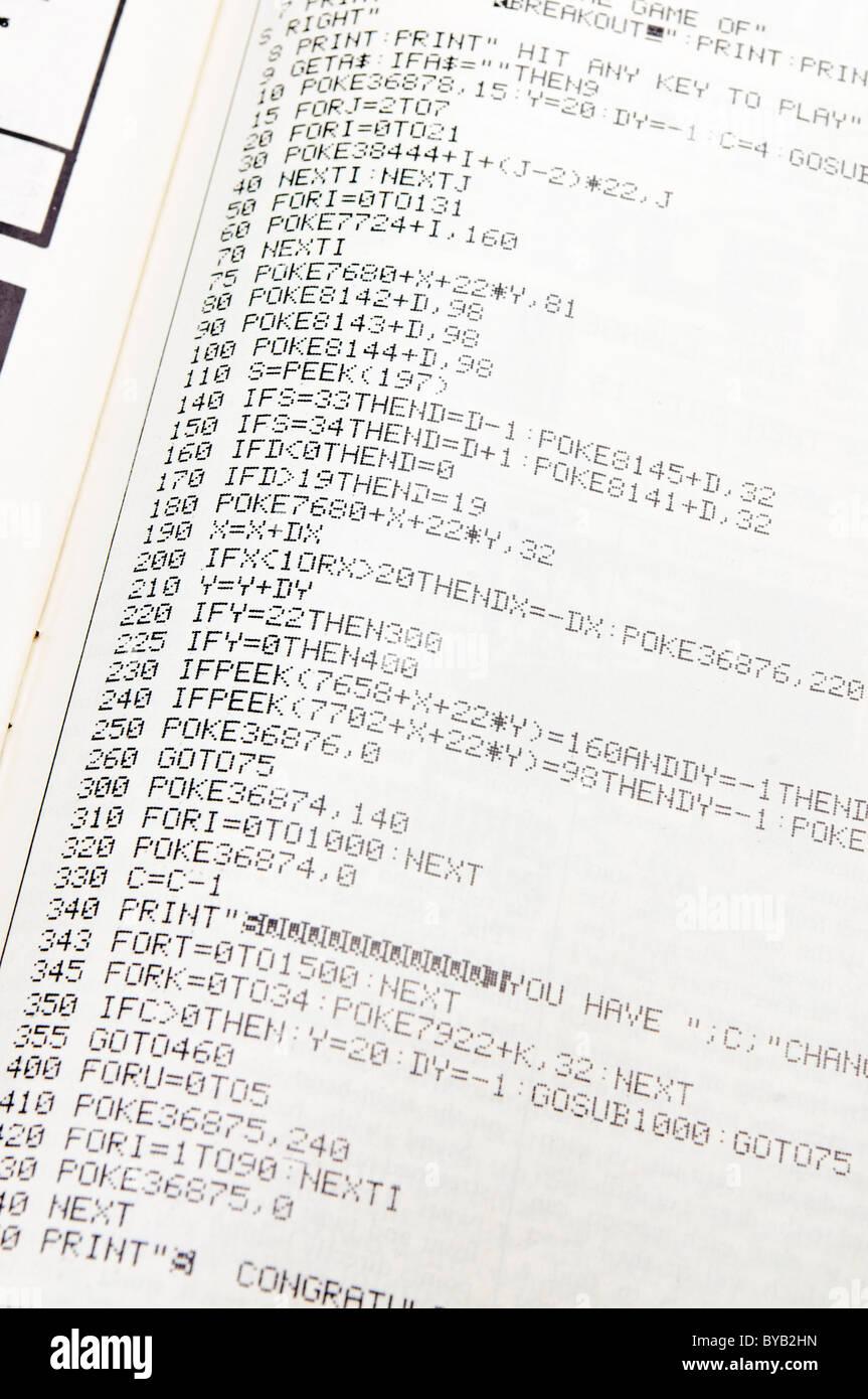 BASIC-Programm in einer Computerzeitschrift von 1983 Stockbild