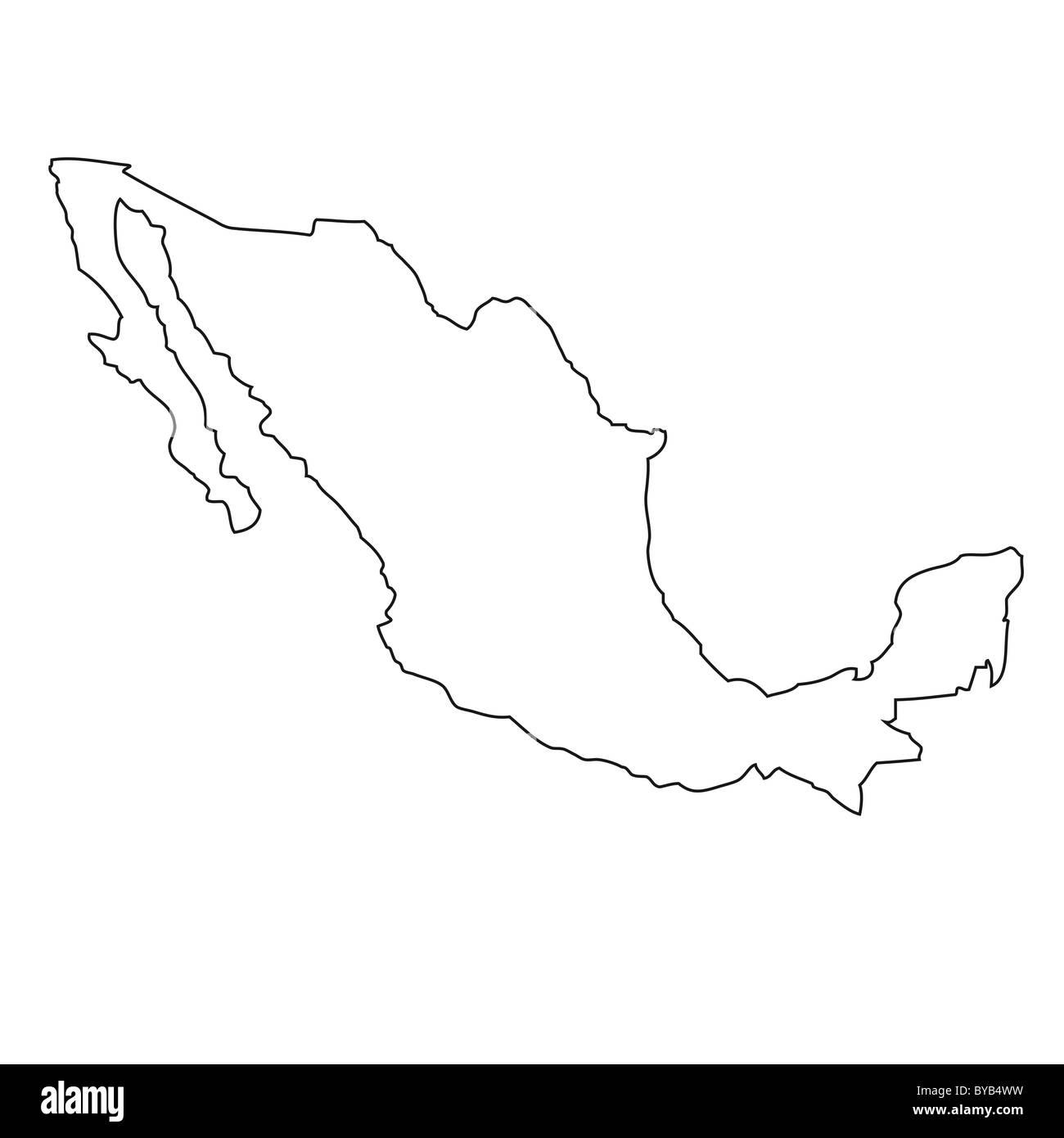 Mexiko Karte Umriss.Gliederung Karte Von Mexiko Stockfoto Bild 34051413 Alamy