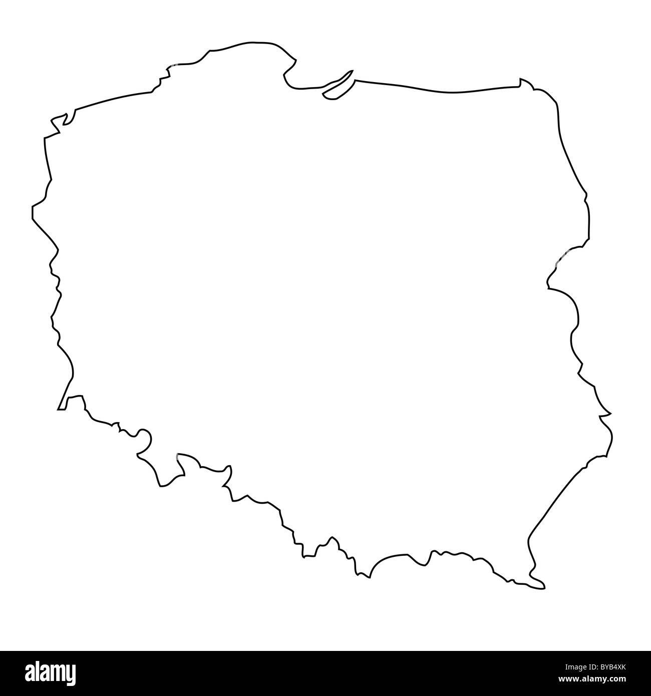 Polen Karte Umriss.Gliederung Karte Von Polen Stockfoto Bild 34051435 Alamy