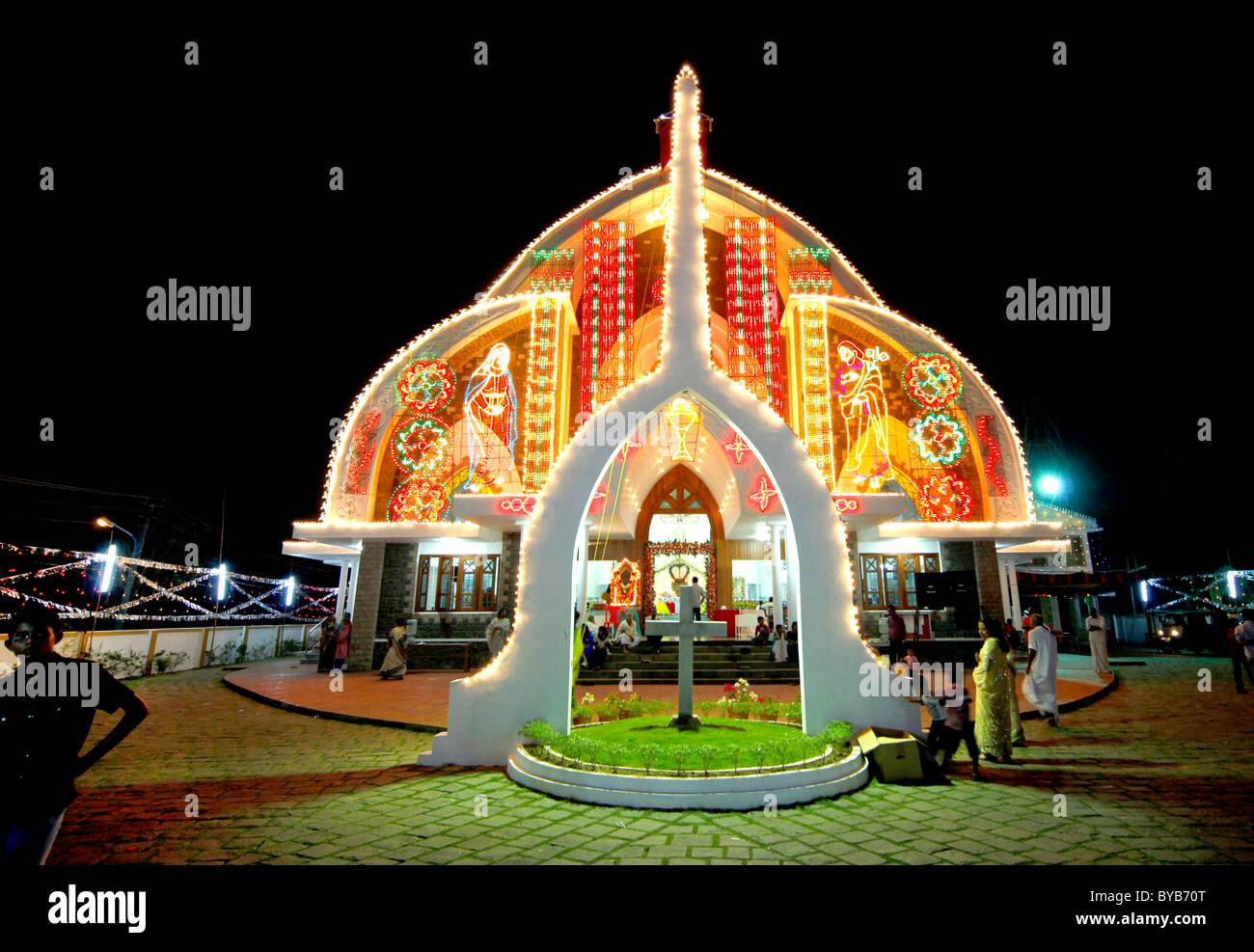 Festival der katholischen Kirche, Prozession, Bilder, Cochin, Kochi, Kerala, Indien, Asien Stockbild