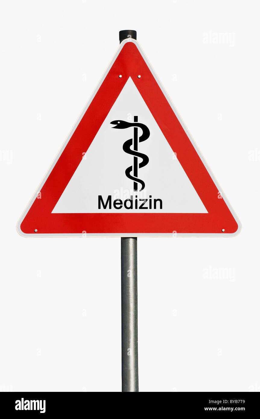 Gefahrenzeichen, Medizin, Deutsch für Medizin, Mitarbeiter des Äskulap, Risiko, Gefahr, symbolisches Bild Stockbild