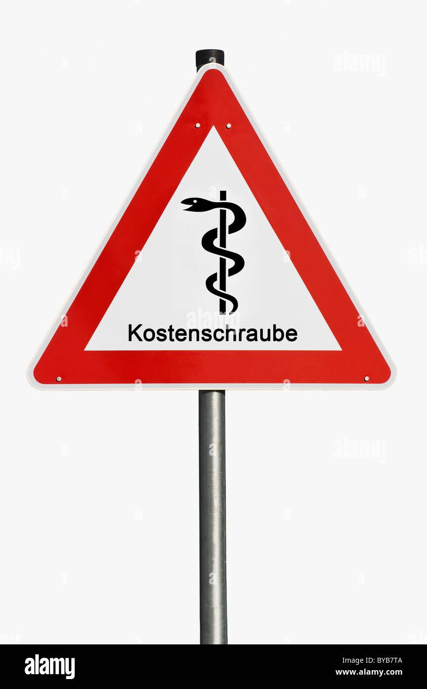 Gefahrenzeichen, Mitarbeiter des Äskulap, Medizin, Kostenschraube, Deutsch für steigende Kosten, symbolisches Stockbild