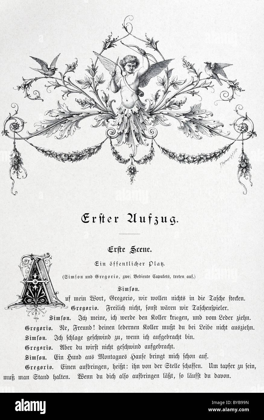 Alten Buchseite mit einer Vignette von Amor, ranken und Text, Romeo und Julia von Shakespeare, Ausgabe aus dem Jahre Stockbild