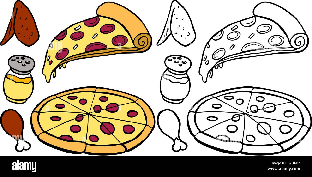 Comic Bild Einer Vielzahl Von Verschiedenen Pizza Und Flügel