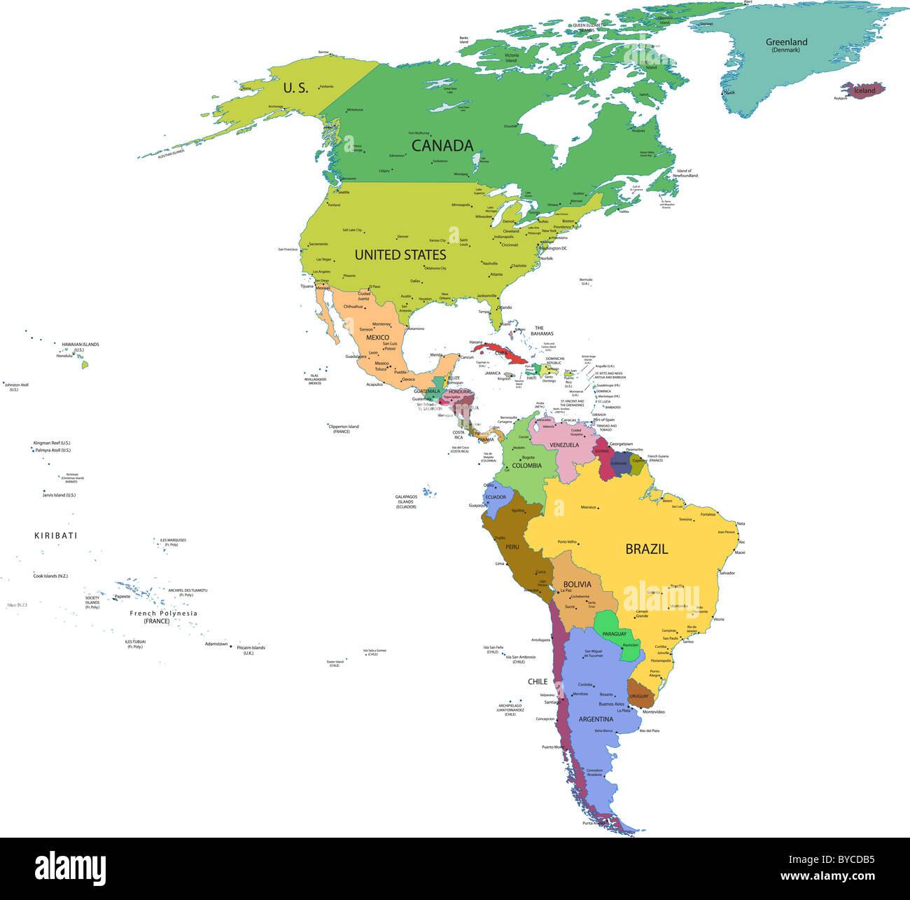 Karte Von Nord Und Sudamerika Mit Lander Hauptstadte Und