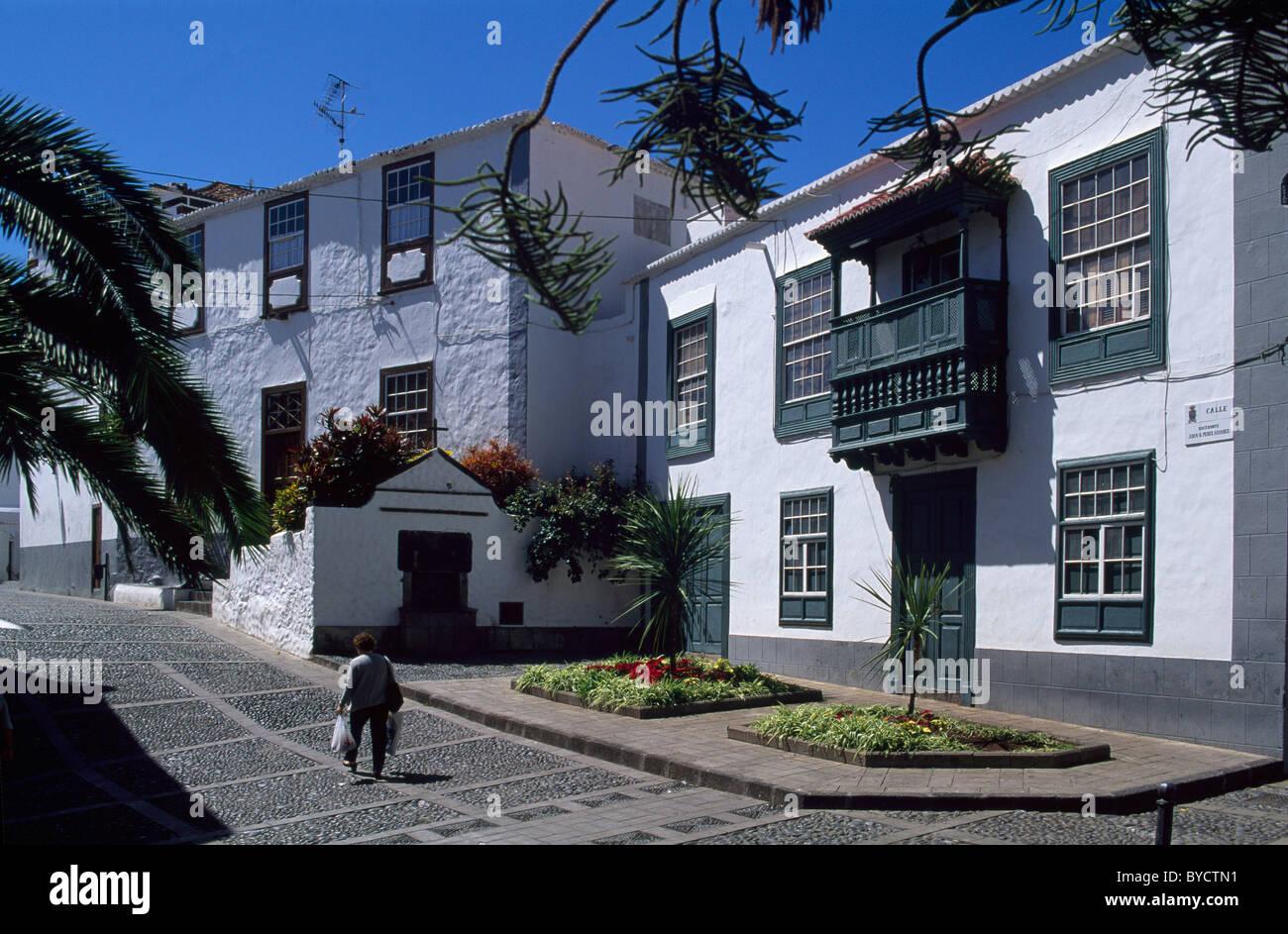 Haus im kanarischen Stil, Santa Cruz, La Alma, Kanarische Inseln, Spanien Stockbild