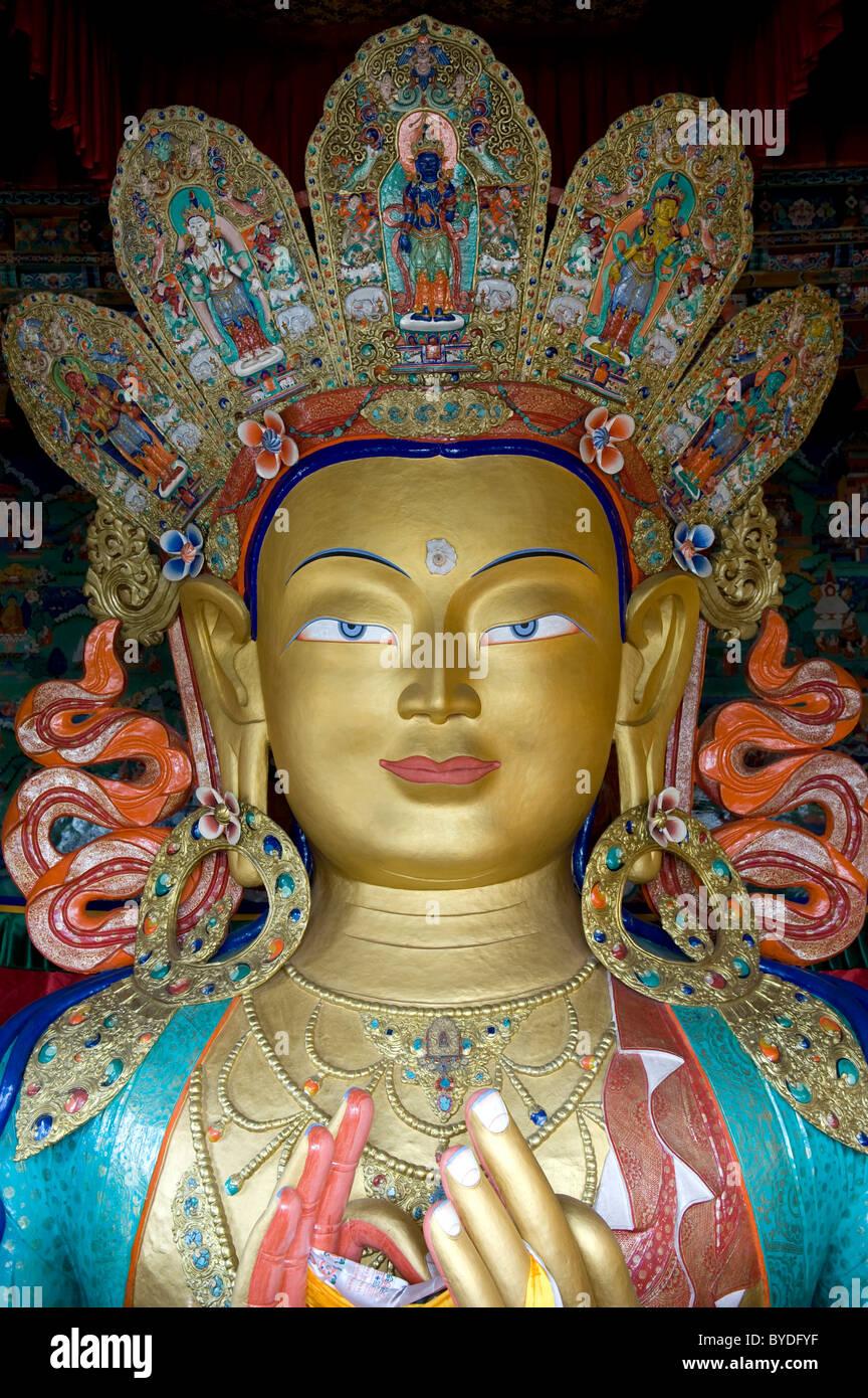 Tibetischen Buddhismus, Buddha Maitreya, Buddha der Zukunft, Porträt, Buddha-Statue, Thikse Gompa Kloster Thikse, Stockbild