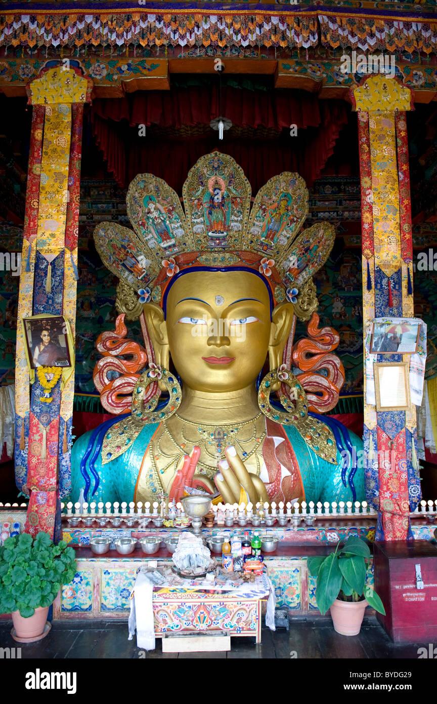 Tibetischen Buddhismus, Buddha Maitreya, Buddha der Zukunft, Buddha-Statue, Thikse Gompa Kloster Thikse, Tikse, Stockbild