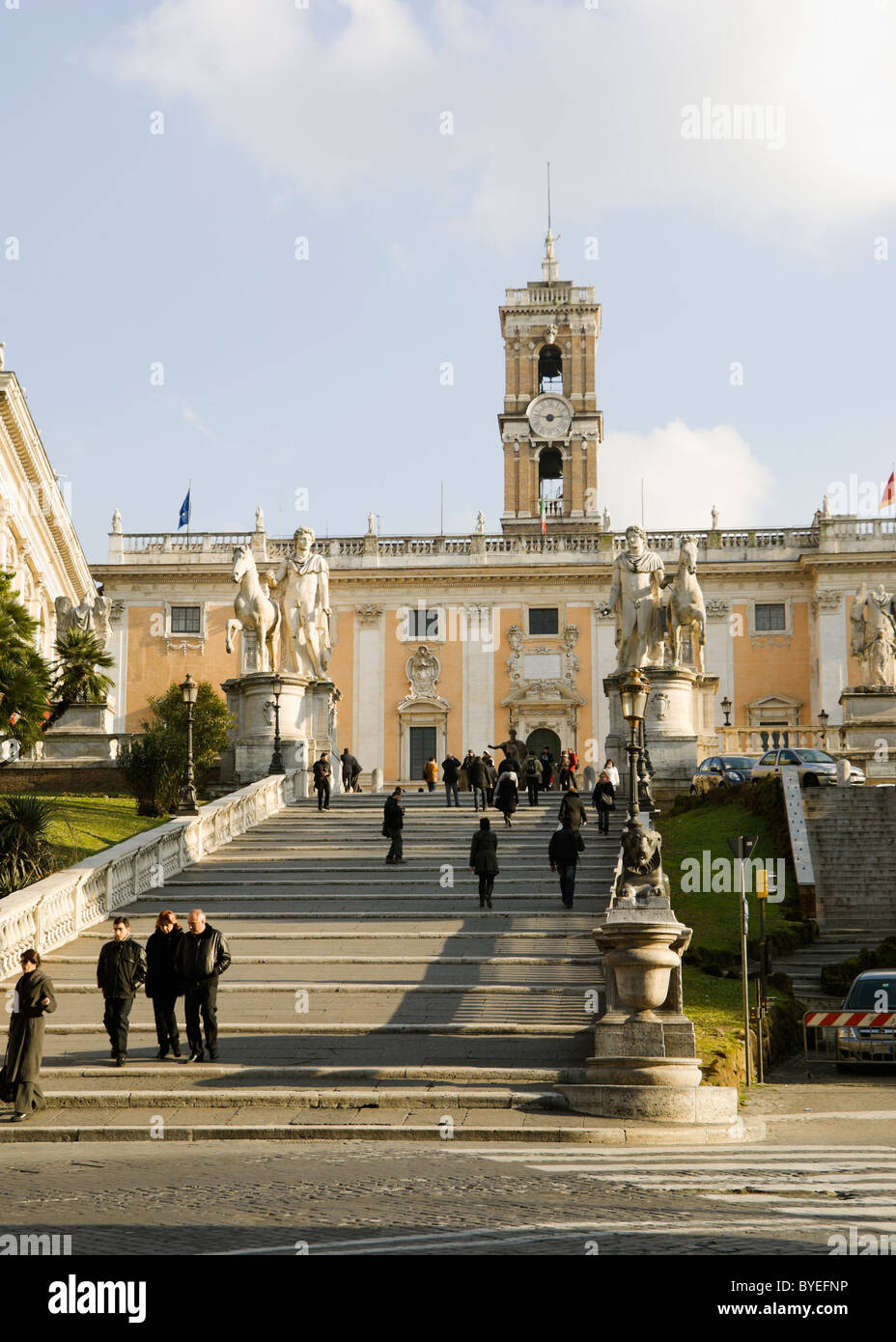 Rom, Italien, Capitoline Hügel Cordonata abfallenden Straße. Stockbild