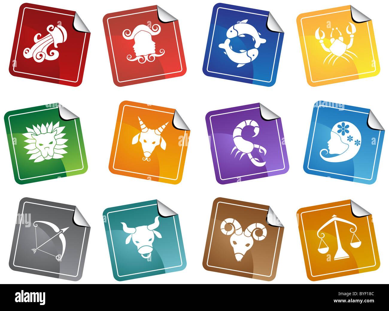 Ein Bild von den 12 Tierkreiszeichen. Stockbild