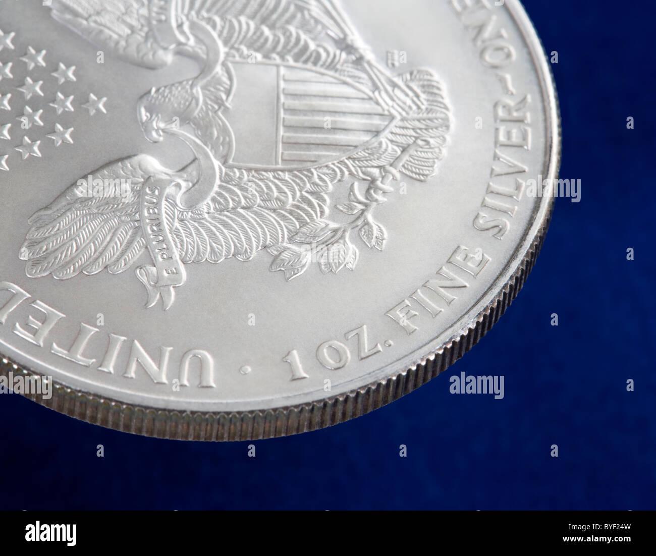 Die Vorderseite oder Rückseite des einen eine Unze U.S. Eagle Silbermünze Stockbild