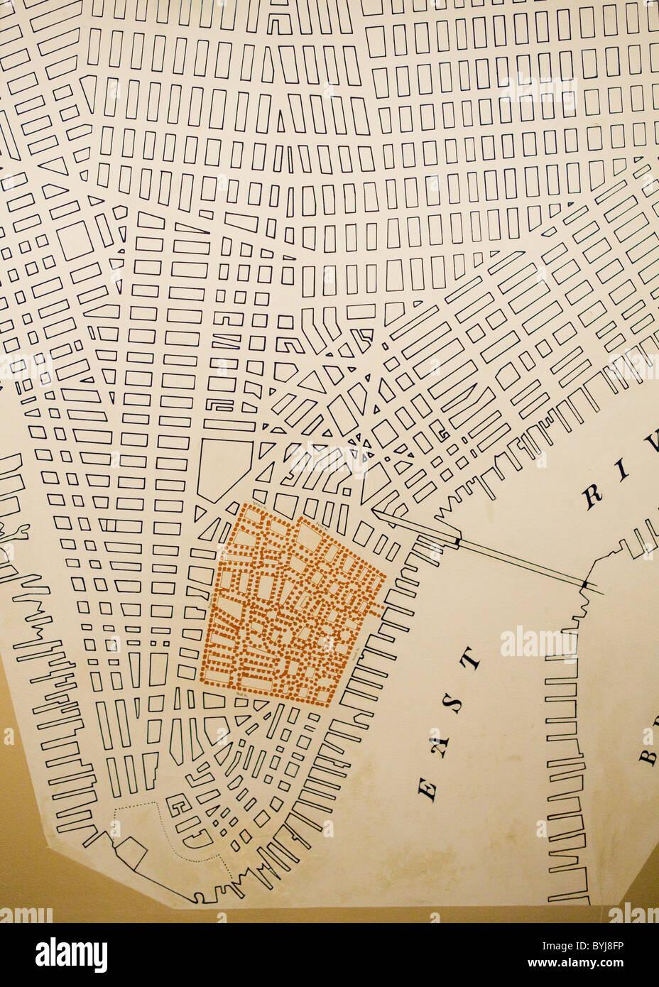 Antike Landkarte von Manhattans Stromnetz Stockbild