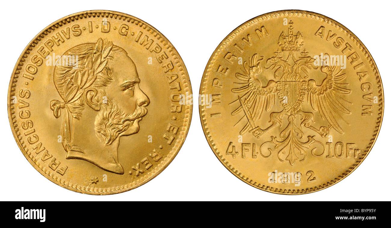 Goldmünze österreichisch Kaiser Franz Joseph 4 Gulden 10