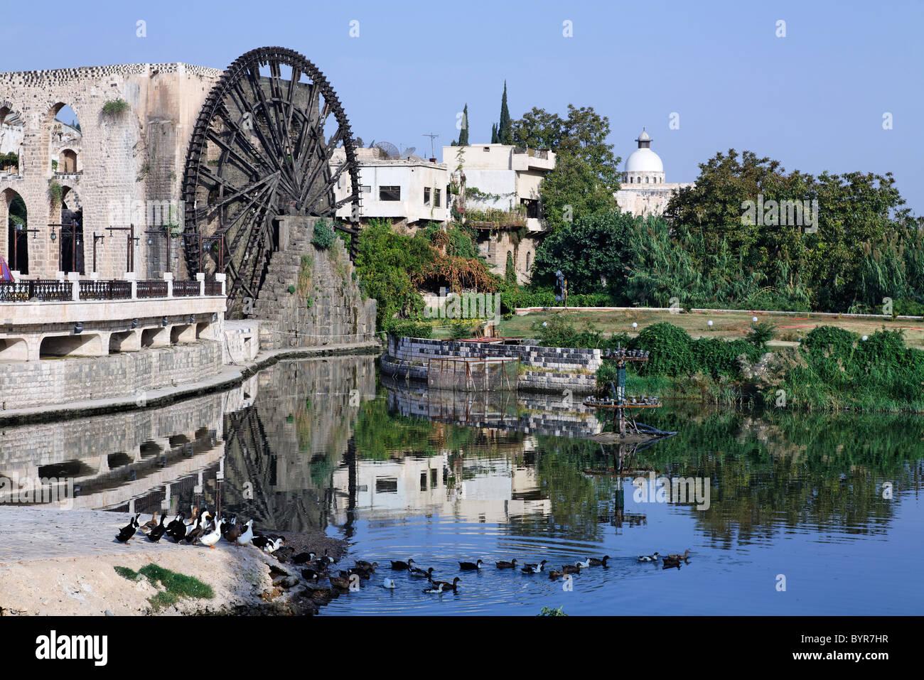 Wasserrad in Hama, Syrien Stockbild
