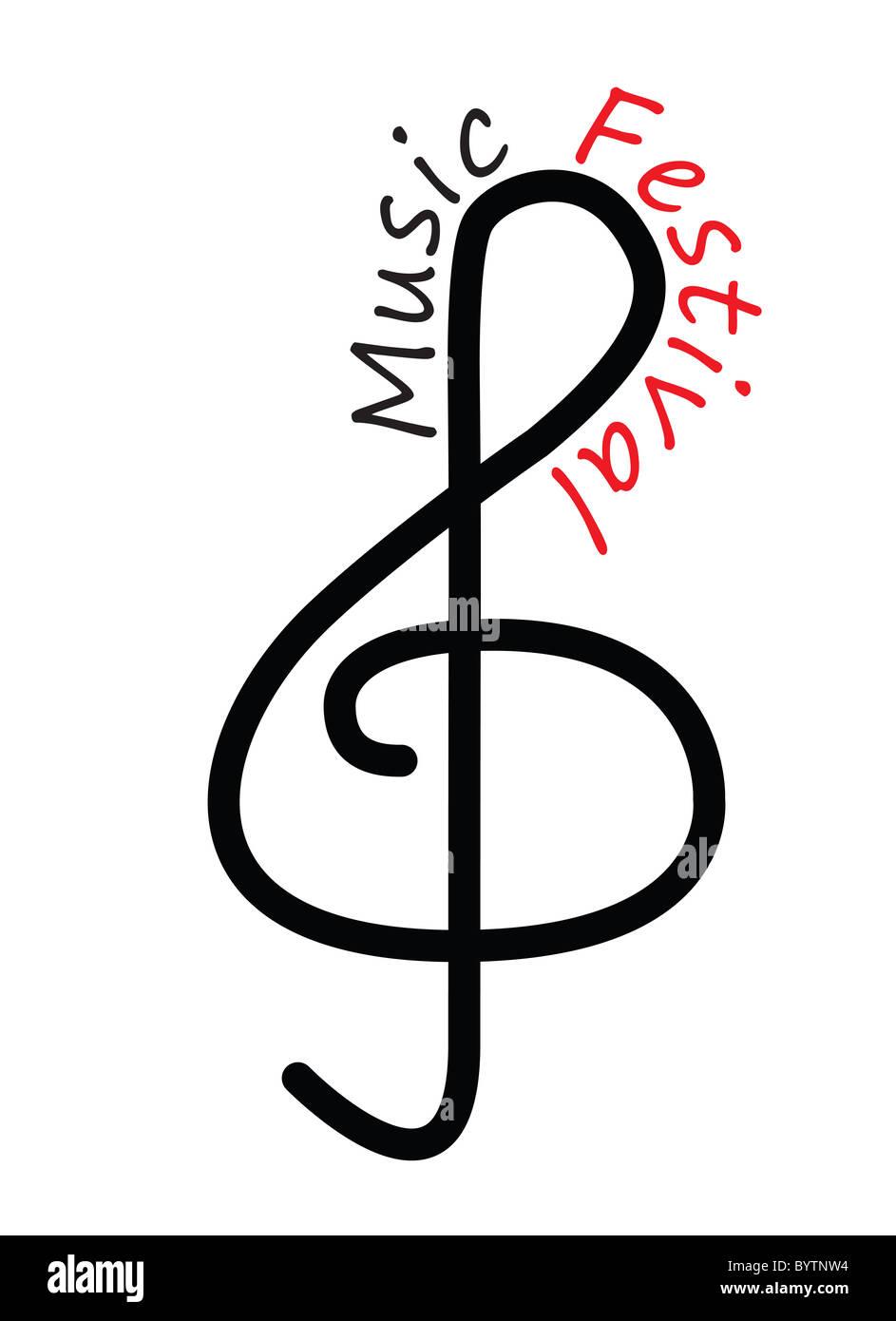 Musiknote Festival Plakat Illustrationsgrafik Stockbild
