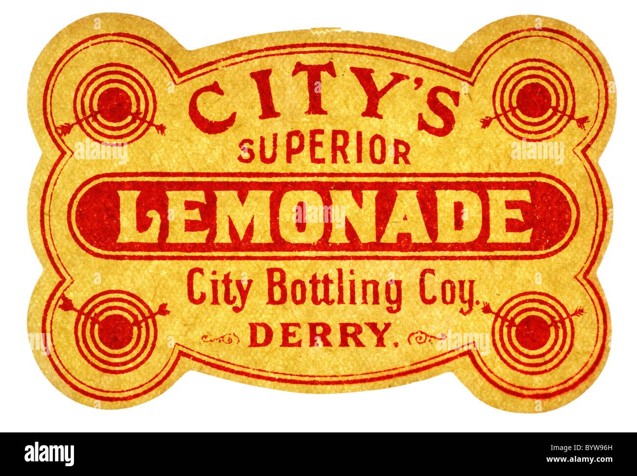 Alte Papier Pop Label Fur Superior Limonade Aus Abfullung Coy Derry