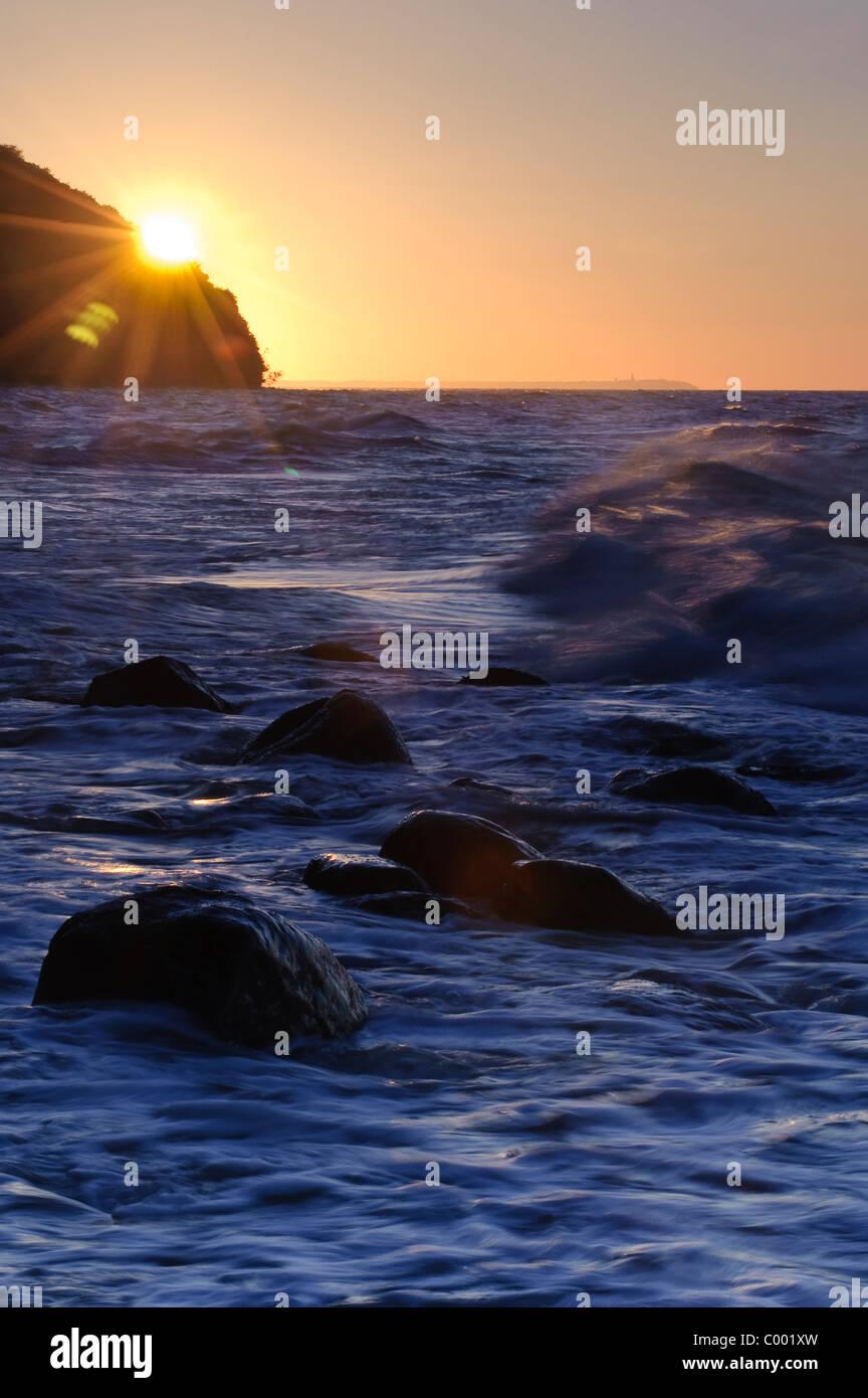 Sonnenuntergang auf der Insel Rügen, Ostsee, Deutschland Stockbild