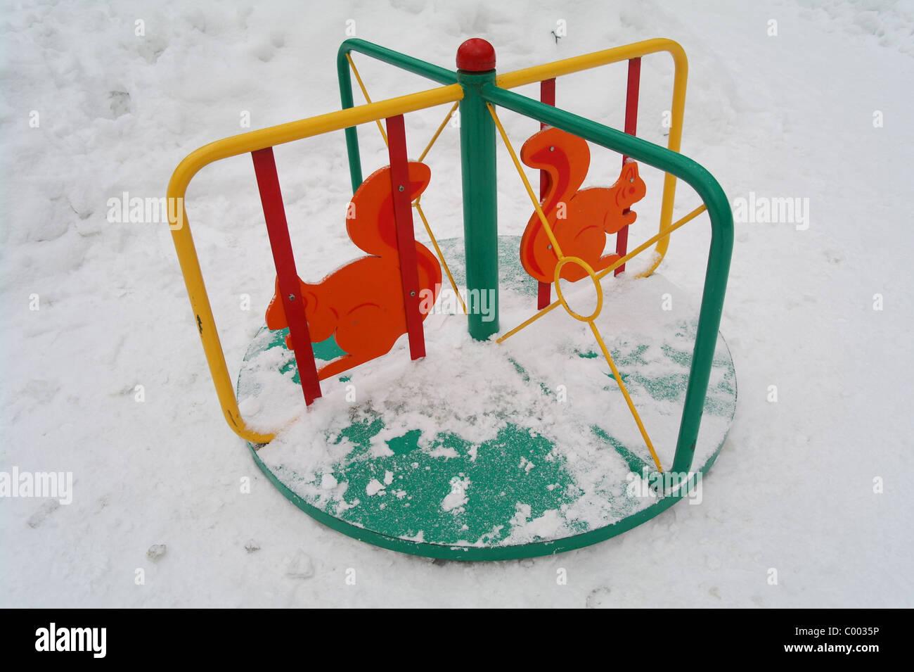 Kinderkarussell In Nicht Langweilig Garten Im Winter Moskau