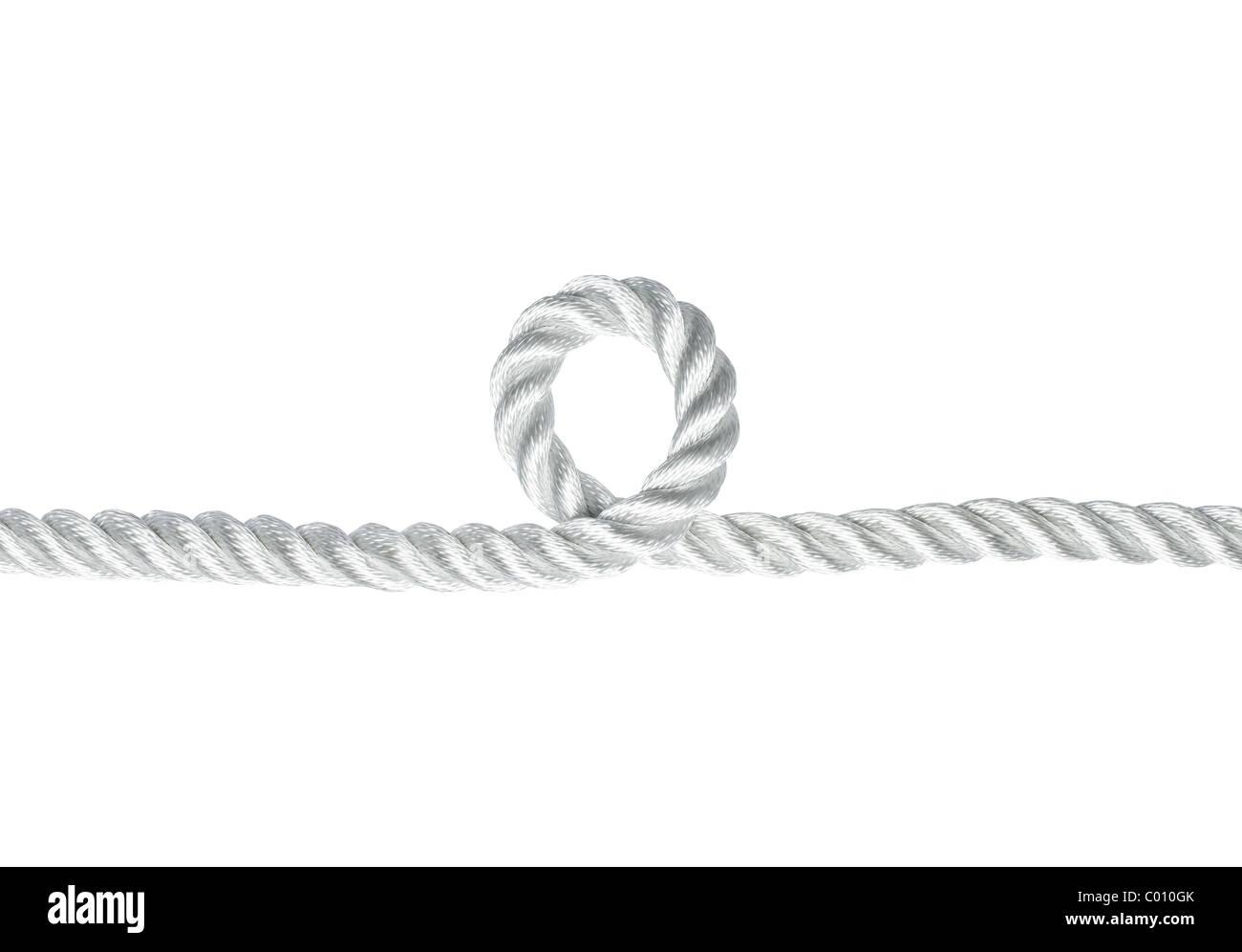 Nylon-Seil mit einem Schlupfloch, isoliert auf weiss Stockbild
