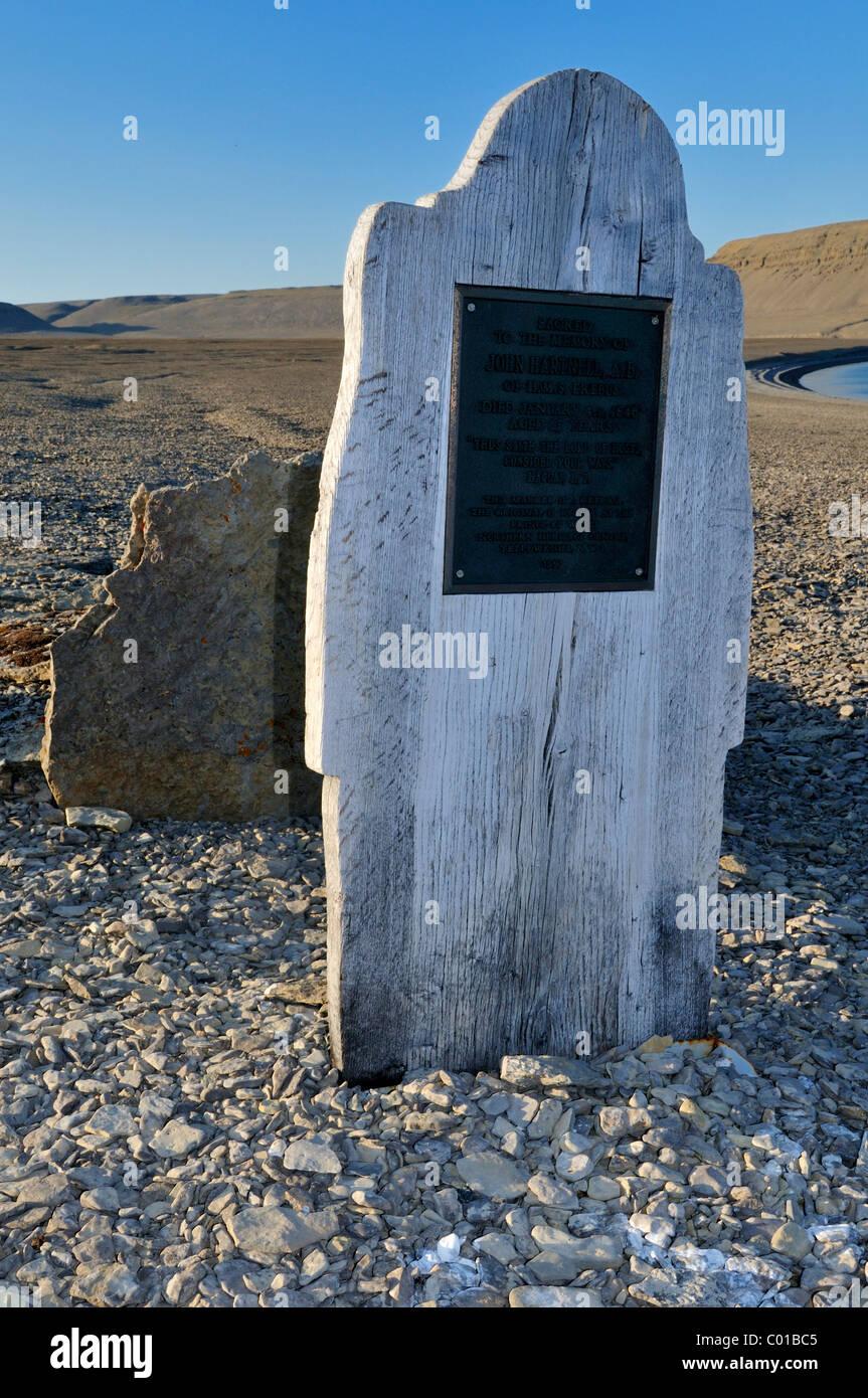 Grab von John Hartnell, Mitglied der berühmten verloren Franklin-Expedition, Beechey Island, Nordwest-Passage, Stockbild