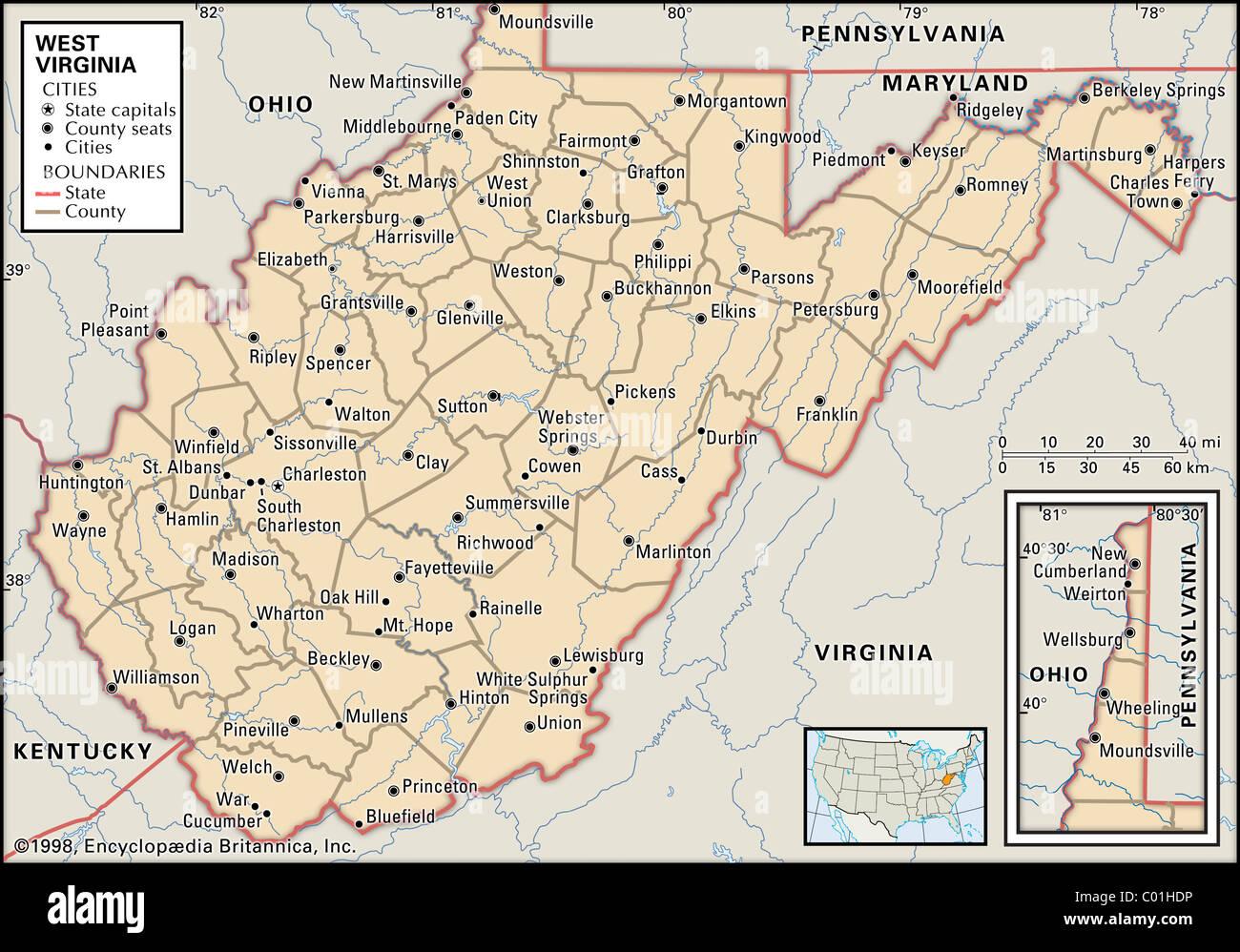 Politische Karte von West Virginia Stockbild