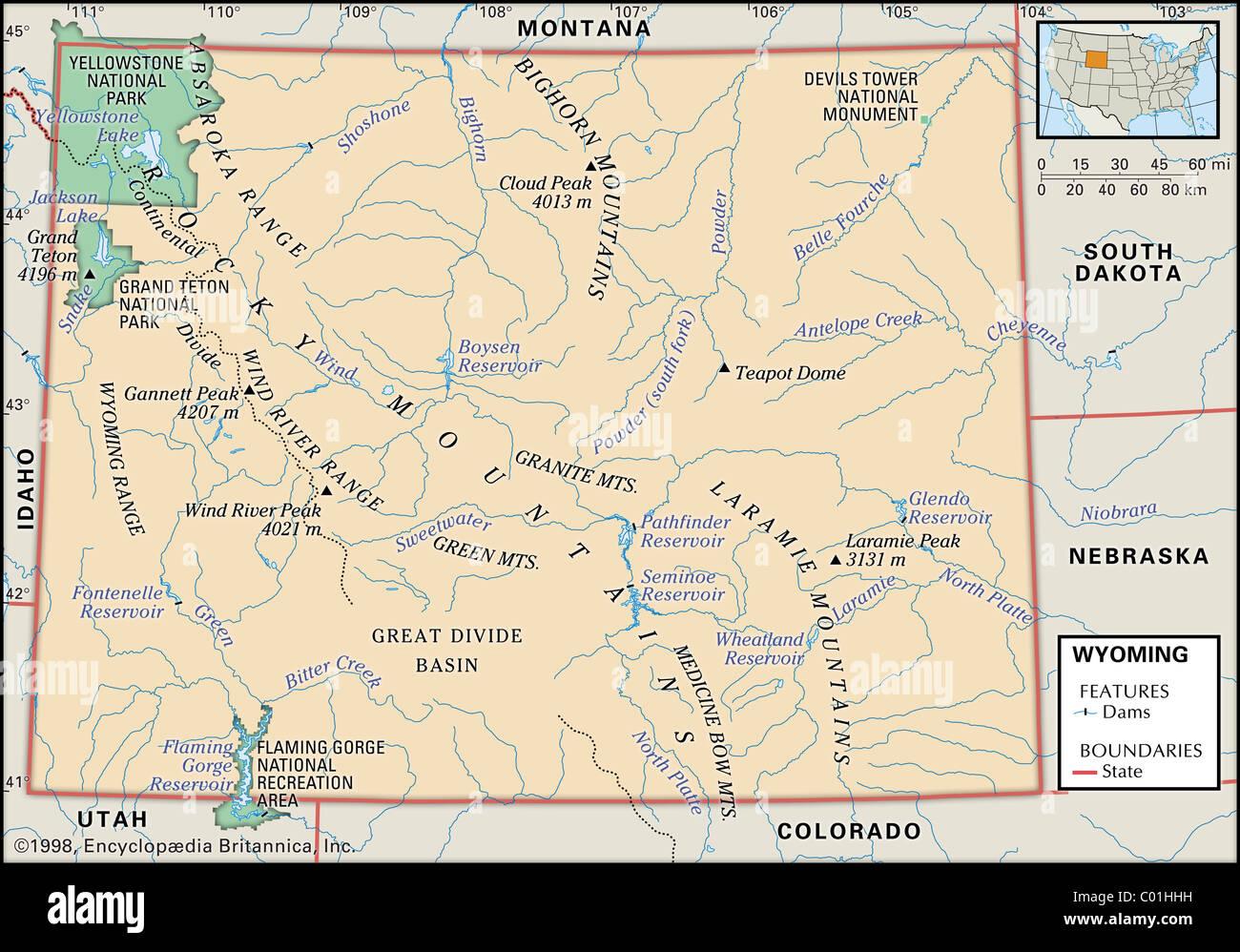 Physische Karte Usa.Physische Karte Von Wyoming Stockfoto Bild 34456509 Alamy